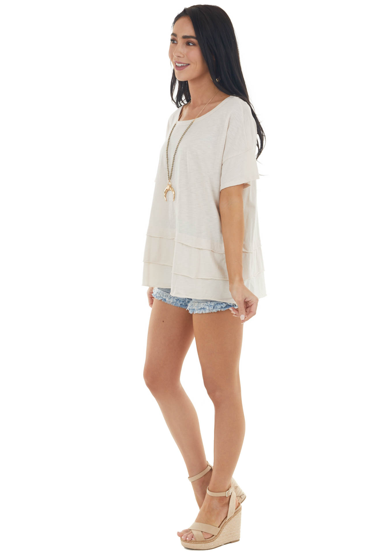 Champagne Tiered Stretchy Knit Top with Short Sleeves