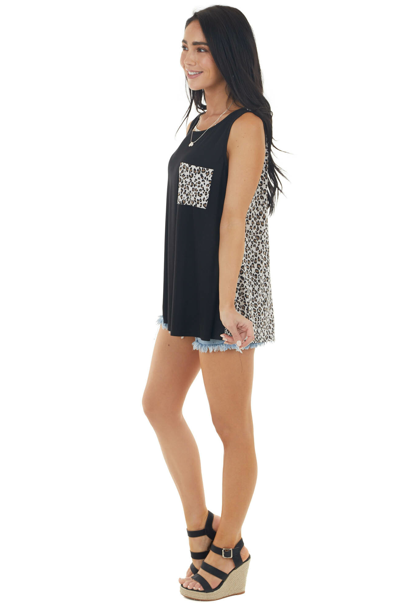Black Sleeveless Knit Top with Leopard Print Pocket and Back