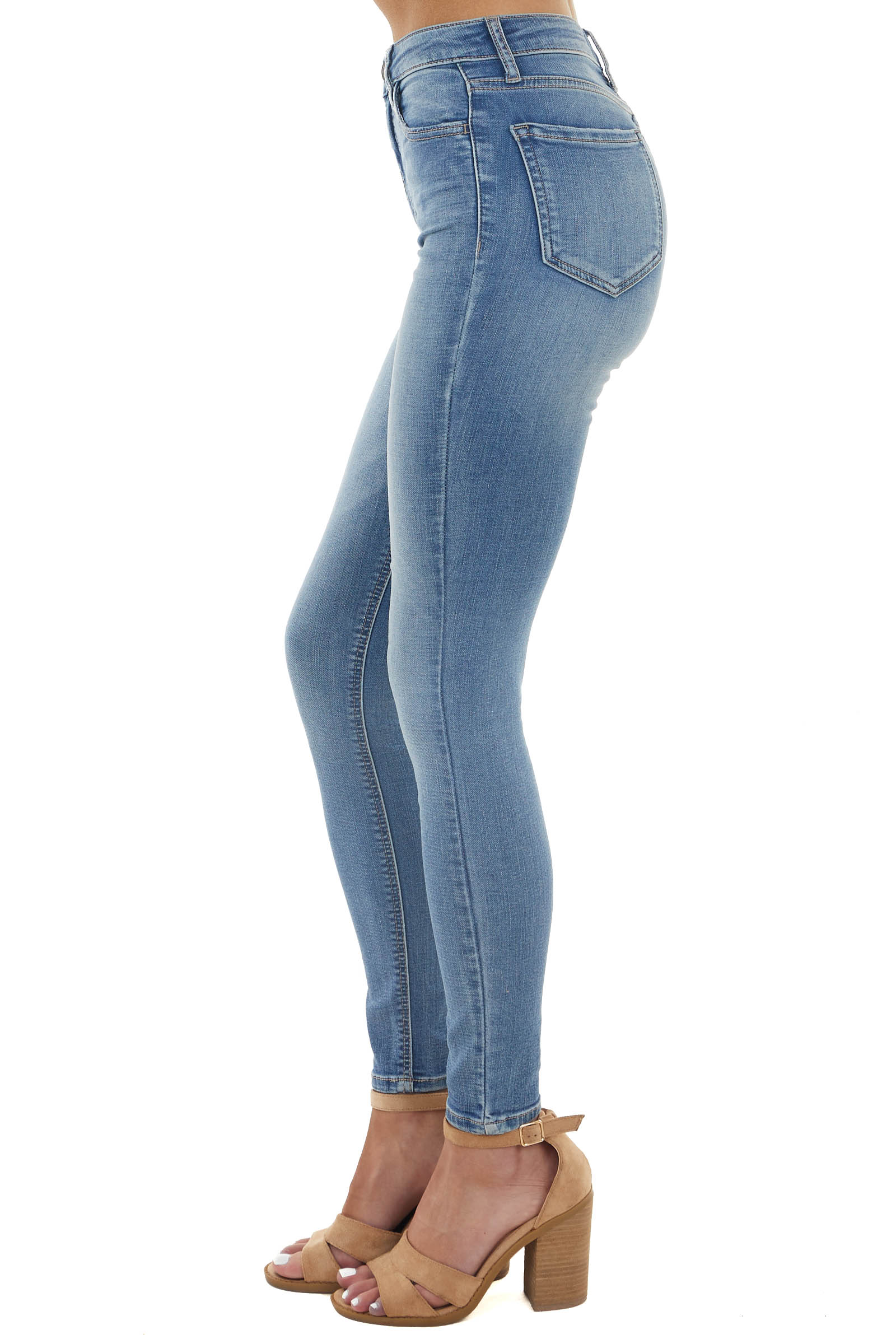 Medium Wash High Rise Skinny Fitted Stretchy Denim Jeans