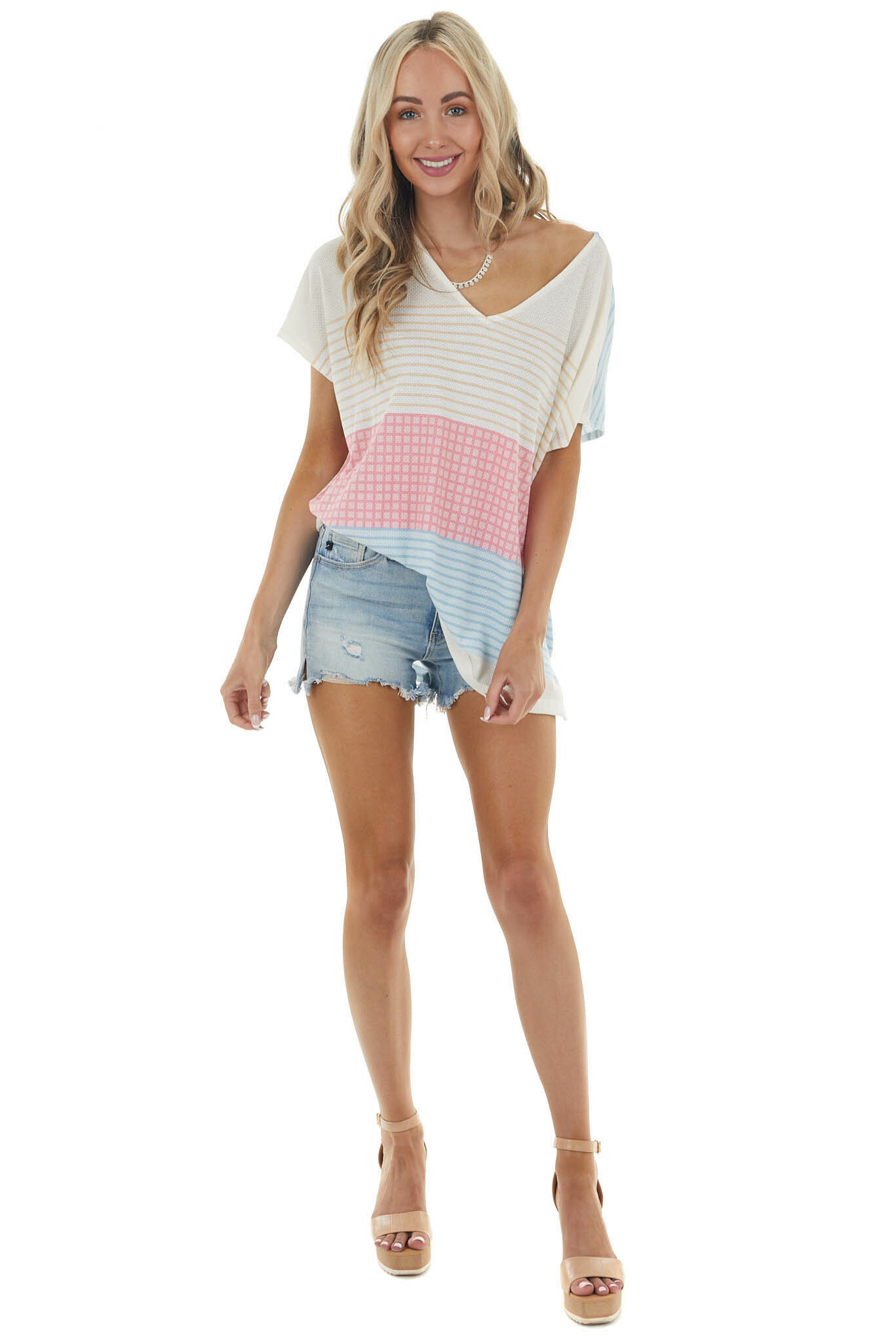 Ivory Multicolor Striped Knit Top with Short Kimono Sleeves