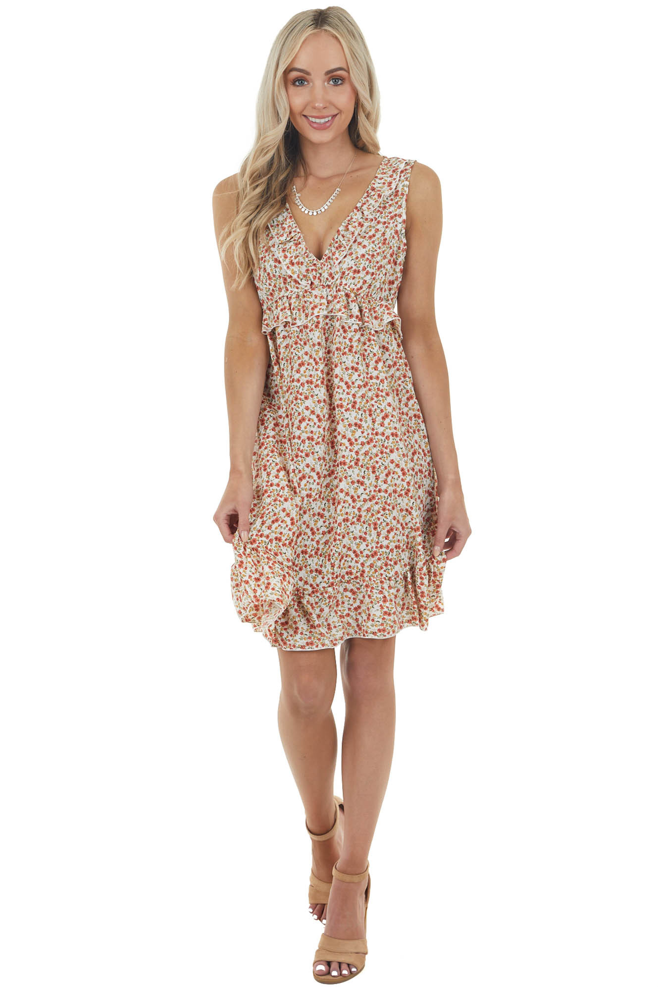 Pearl Ditsy Floral Sleeveless Short Dress with Ruffle Detail