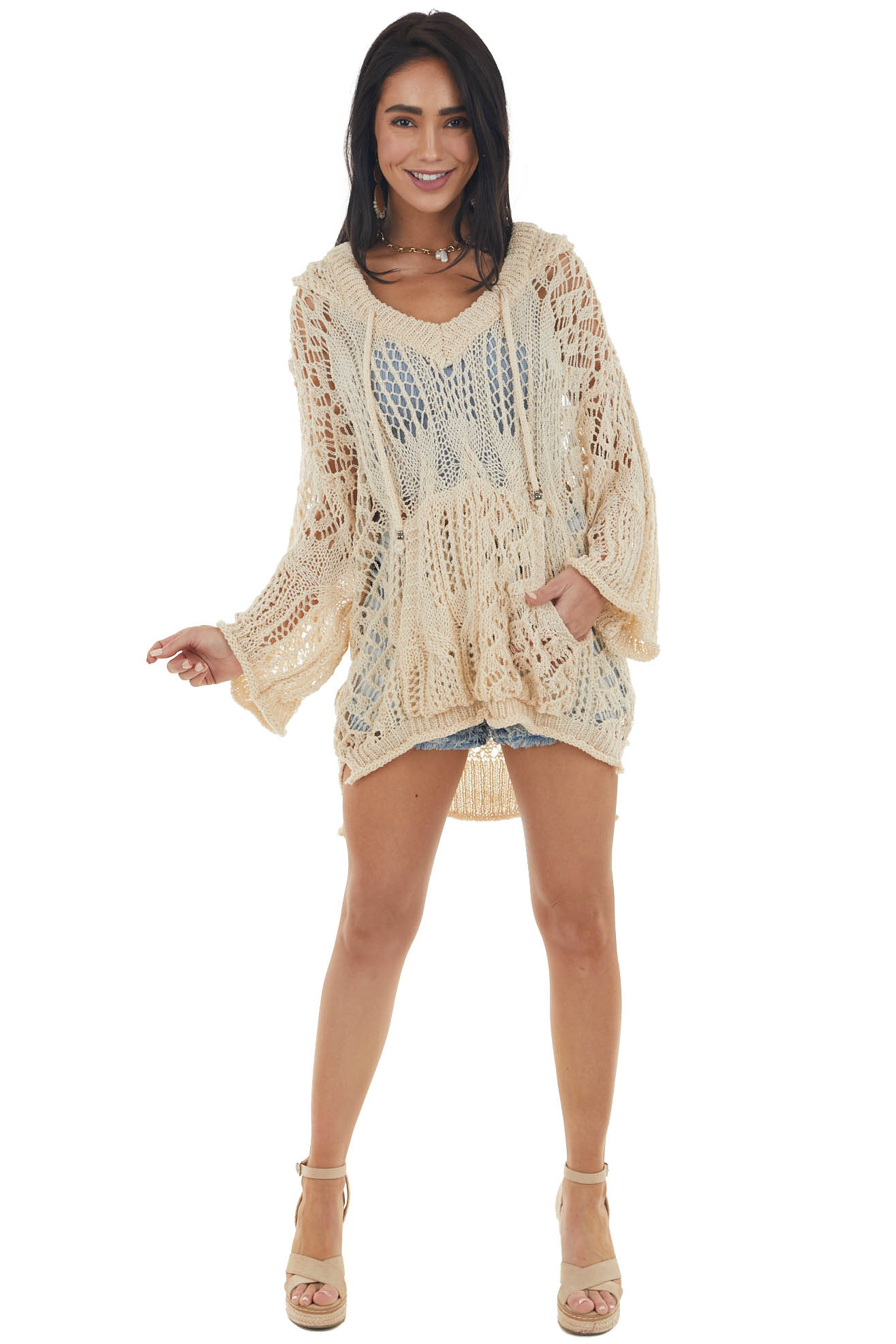 Beige Crochet Long Sleeve Top with Hood and Pocket