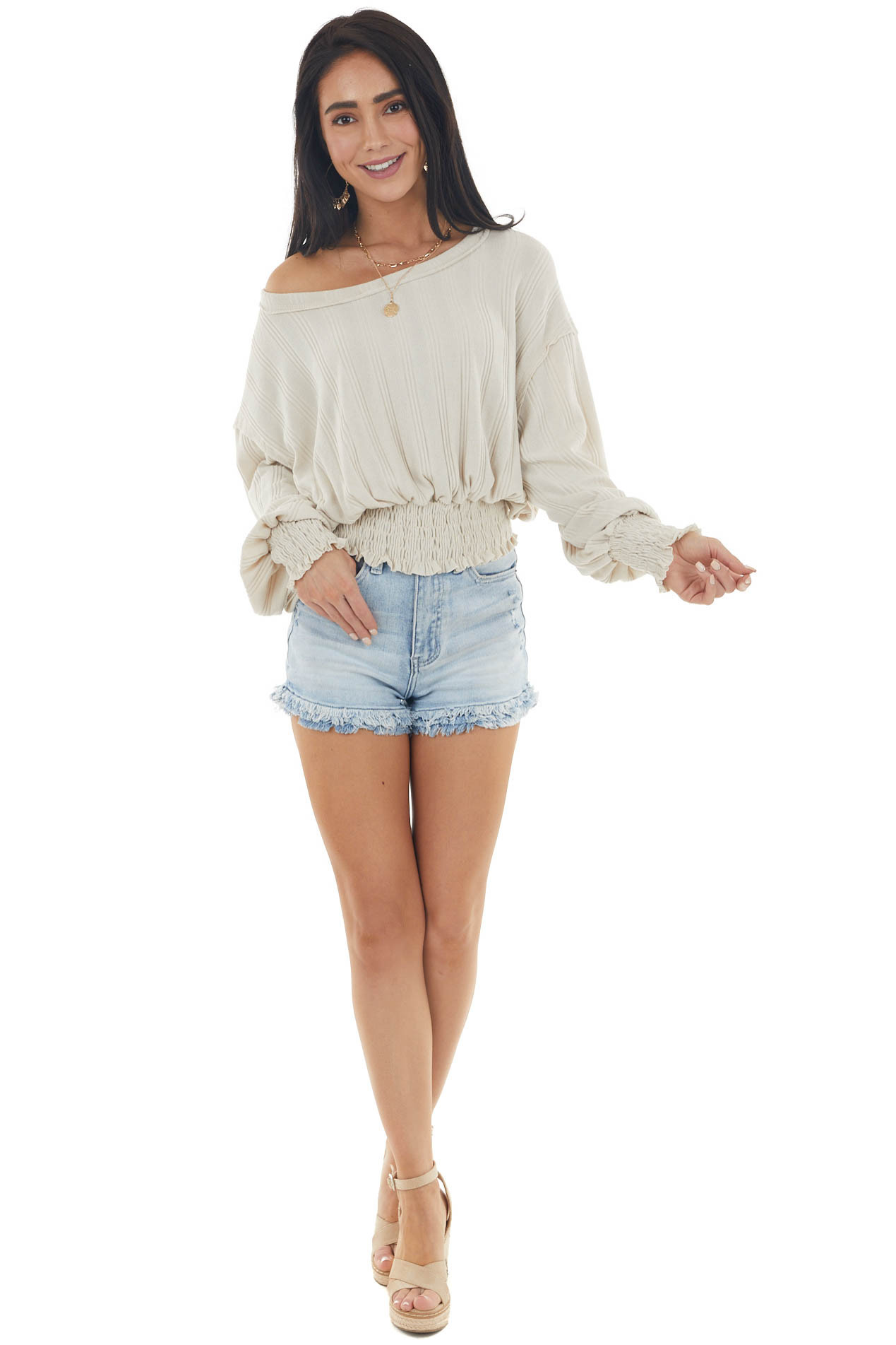 Light Beige Smocked Textured Knit Top with Long Sleeves