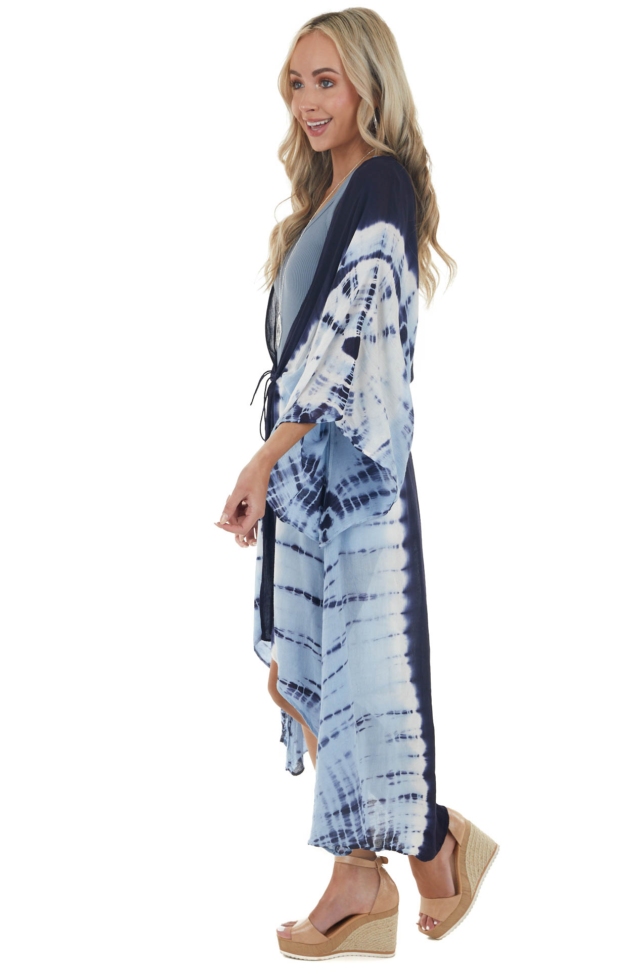 Navy Blue Tie Dye Duster Kimono with Front Tie detail