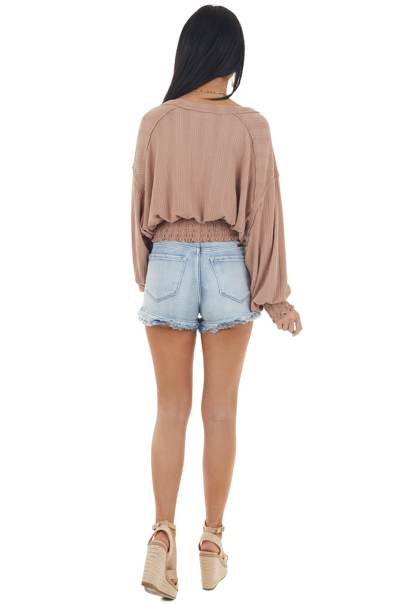 Light Sienna Smocked Textured Knit Top with Long Sleeves