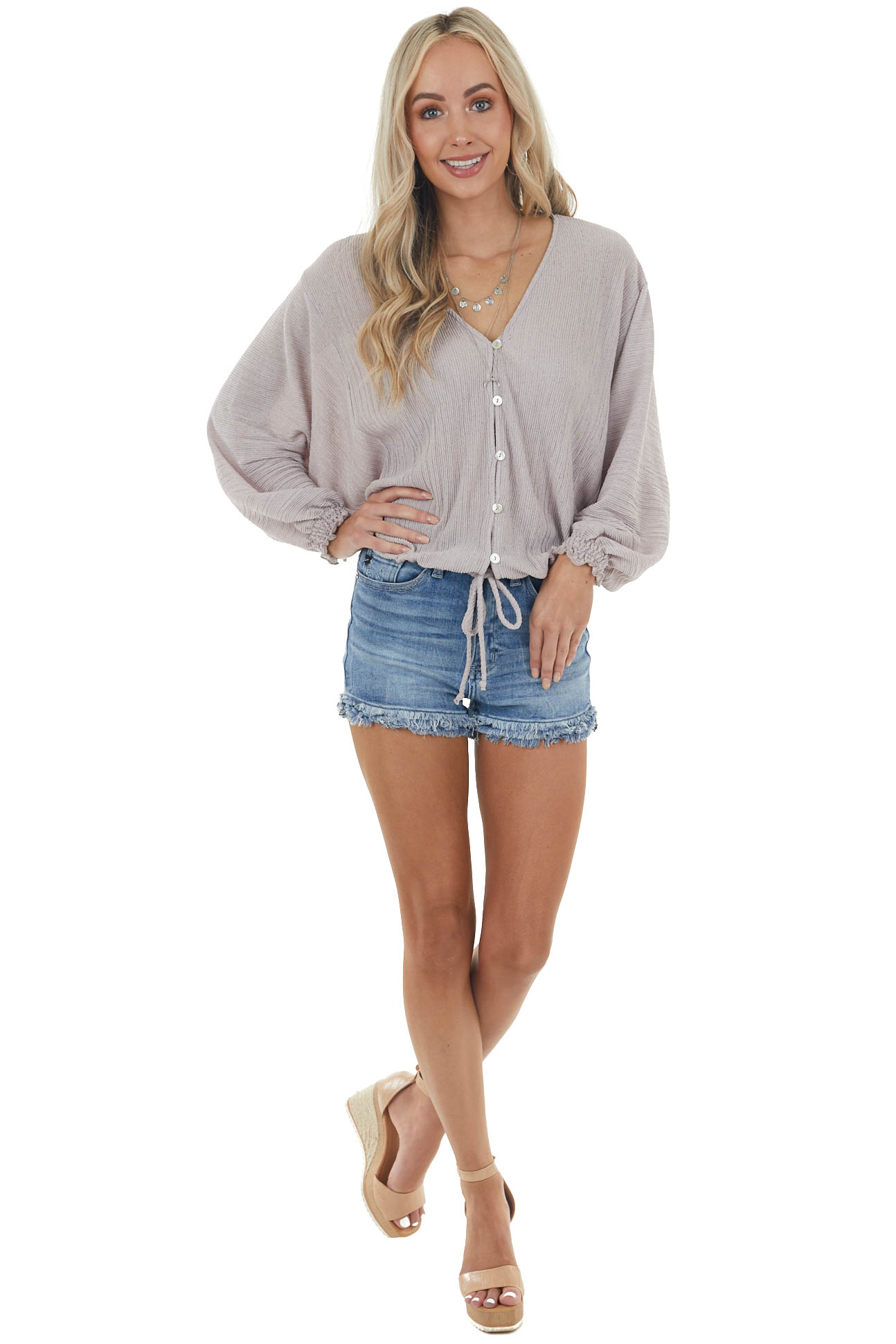 Taupe Crinkle Button Down Blouse with Drawstring Waist