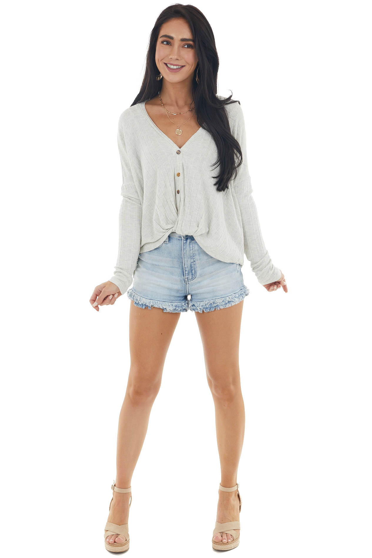Oatmeal Large Ribbed Knit Button Down Top with Knot Detail