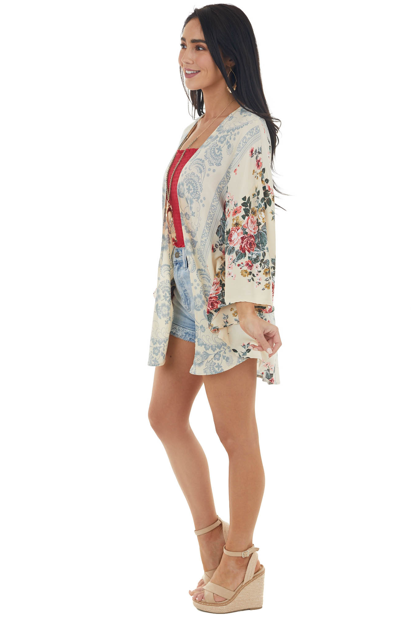 Champagne Floral and Abstract Print Kimono with Rounded Hem