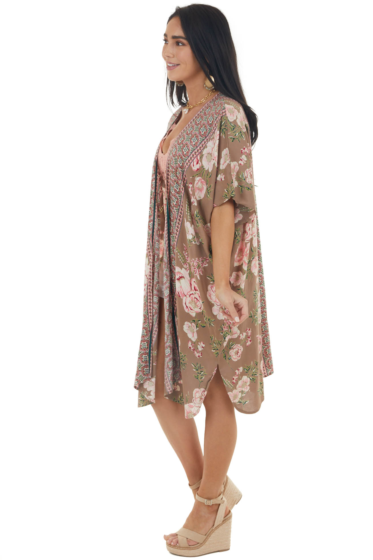 Taupe Floral Print Flowy Short Sleeve Kimono with Side Slits