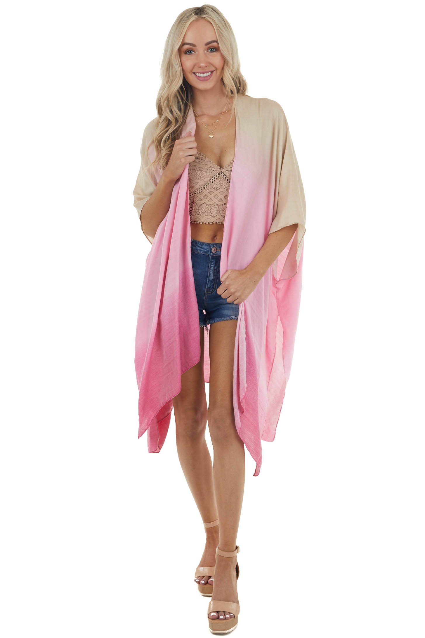 Sand and Thulian Pink Ombre Open Front Lightweight Kimono