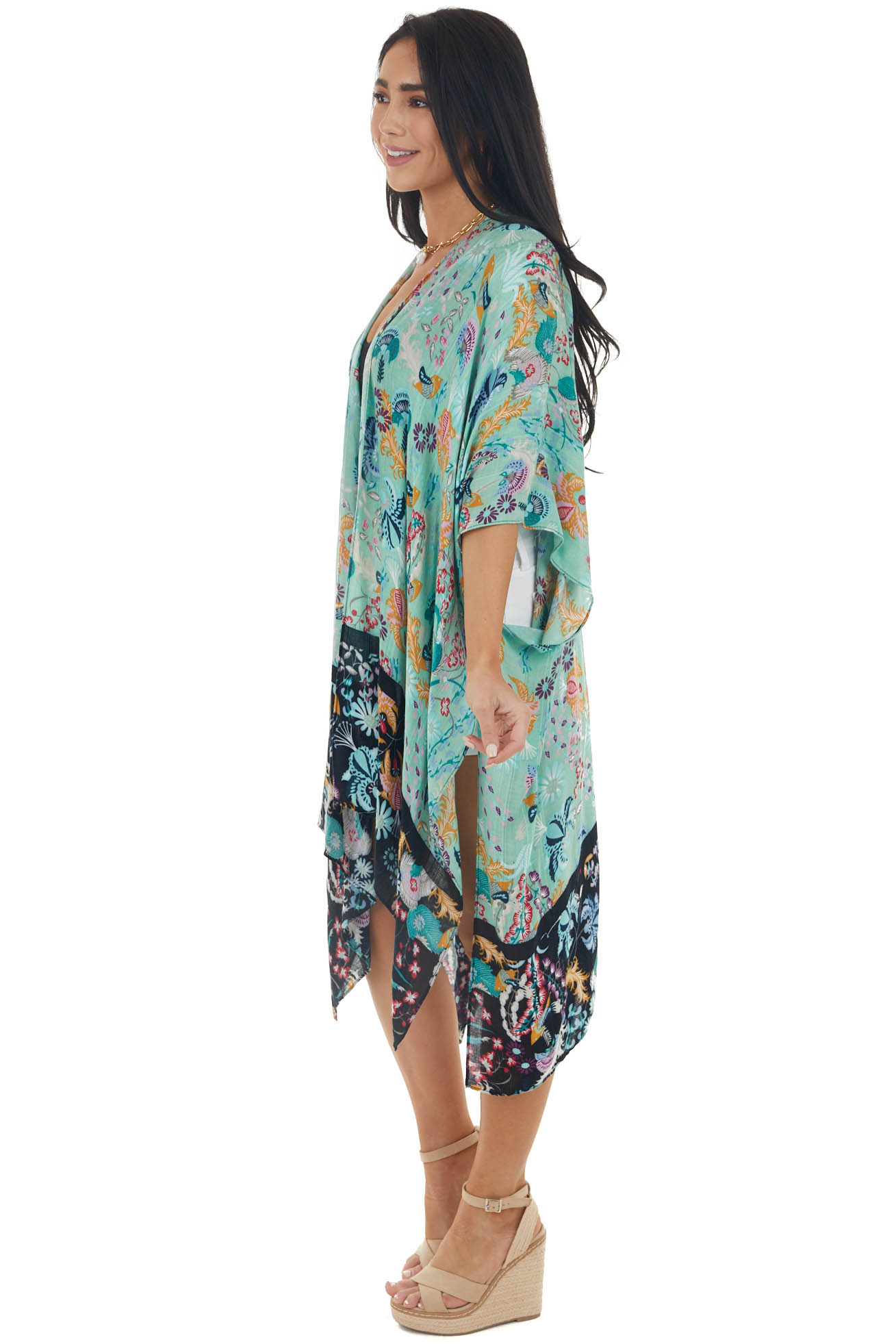 Dark Mint Floral Print Open Front Kimono with Half Sleeves