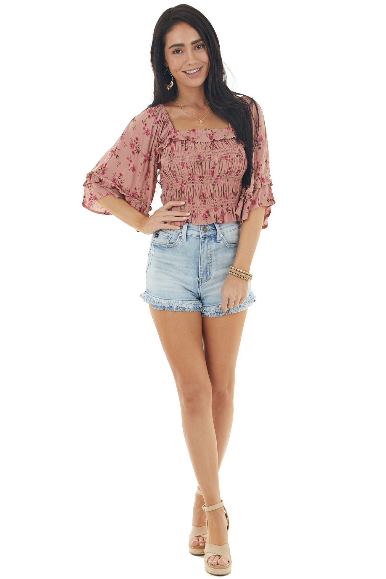 Dusty Rose Floral Print 3/4 Sleeve Smocked Bodice Crop Top