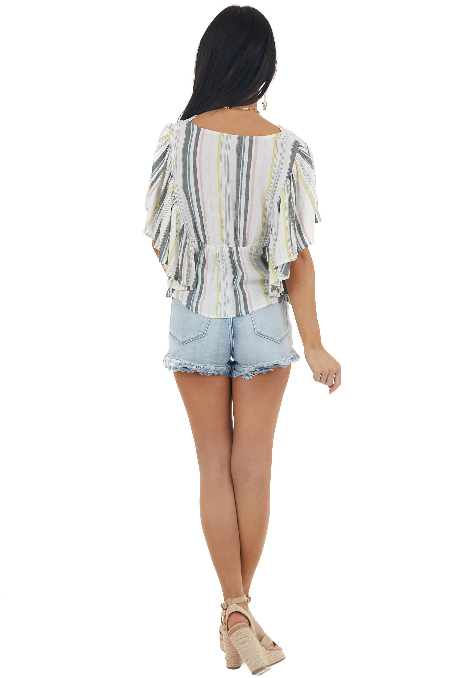 Coconut Multicolor Striped Flutter Sleeve Blouse with Lace