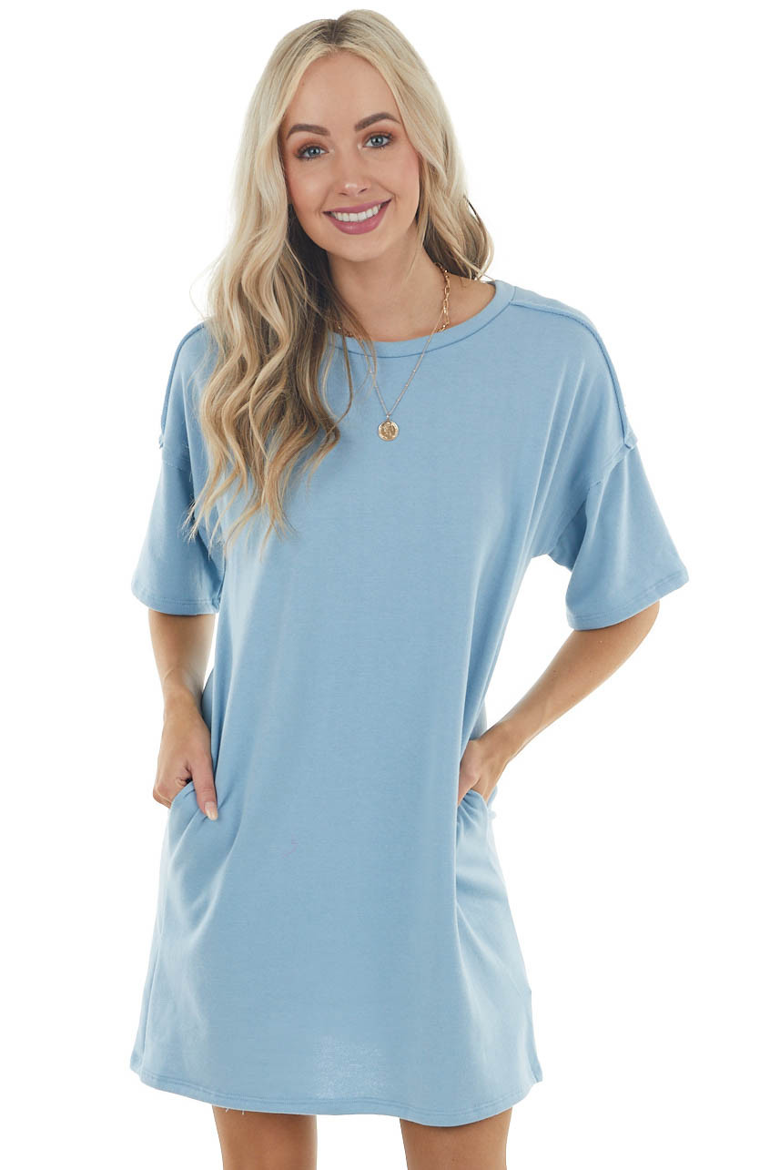 Powder Blue Dress with Side Pockets and Raw Seam Details