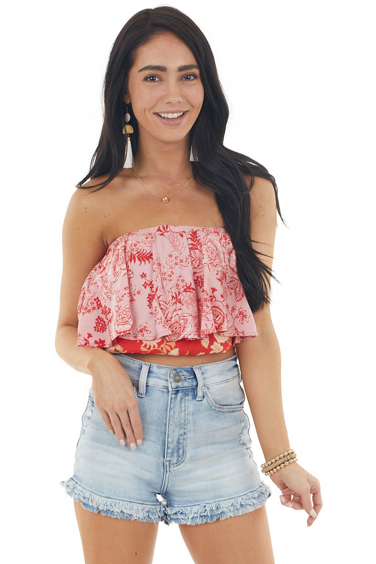 Candy Apple Red Floral Print Layered Strapless Crop Top