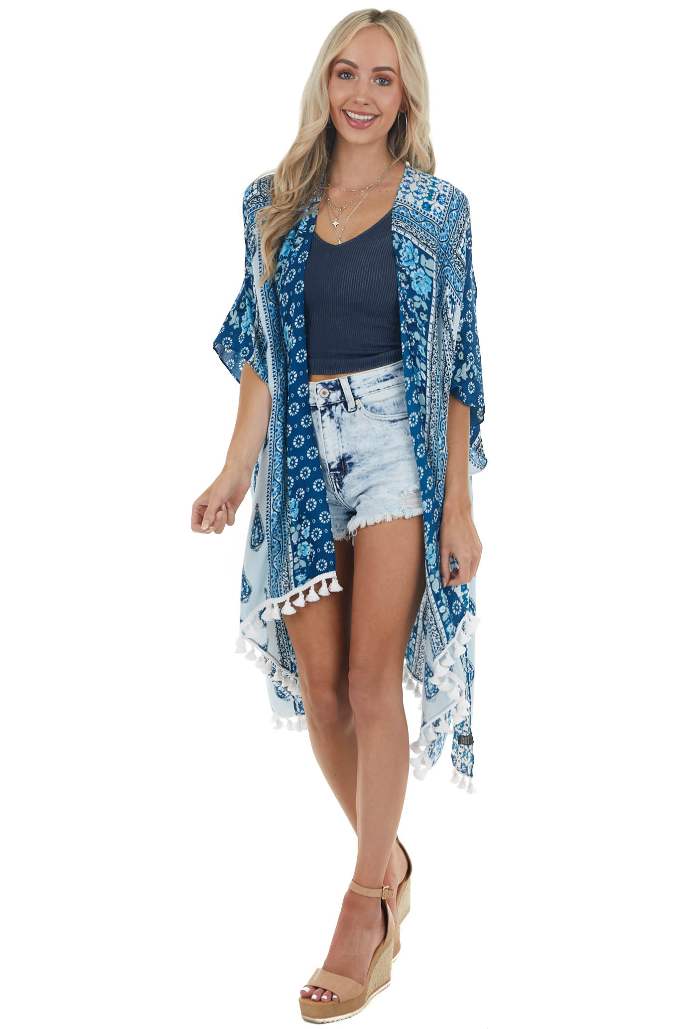 Navy and Sky Blue Multiprint Kimono with Tassel Details