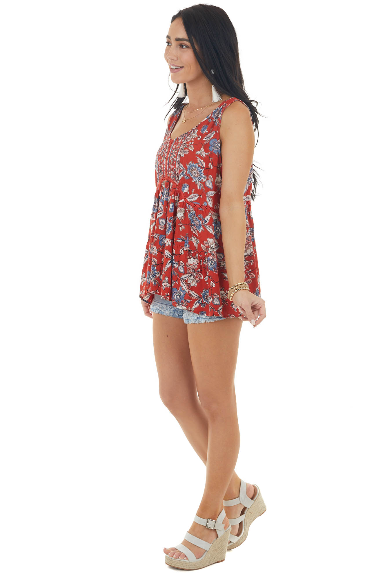 Lipstick Floral Print Sleeveless Top with Eyelet Lace Detail