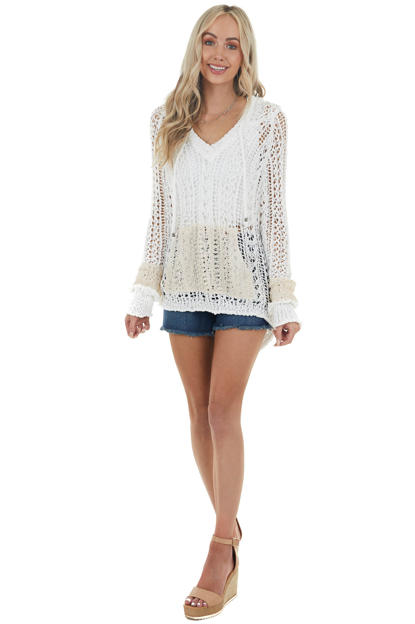 Off White Crochet Lace Long Sleeve Top with Hood and Pocket