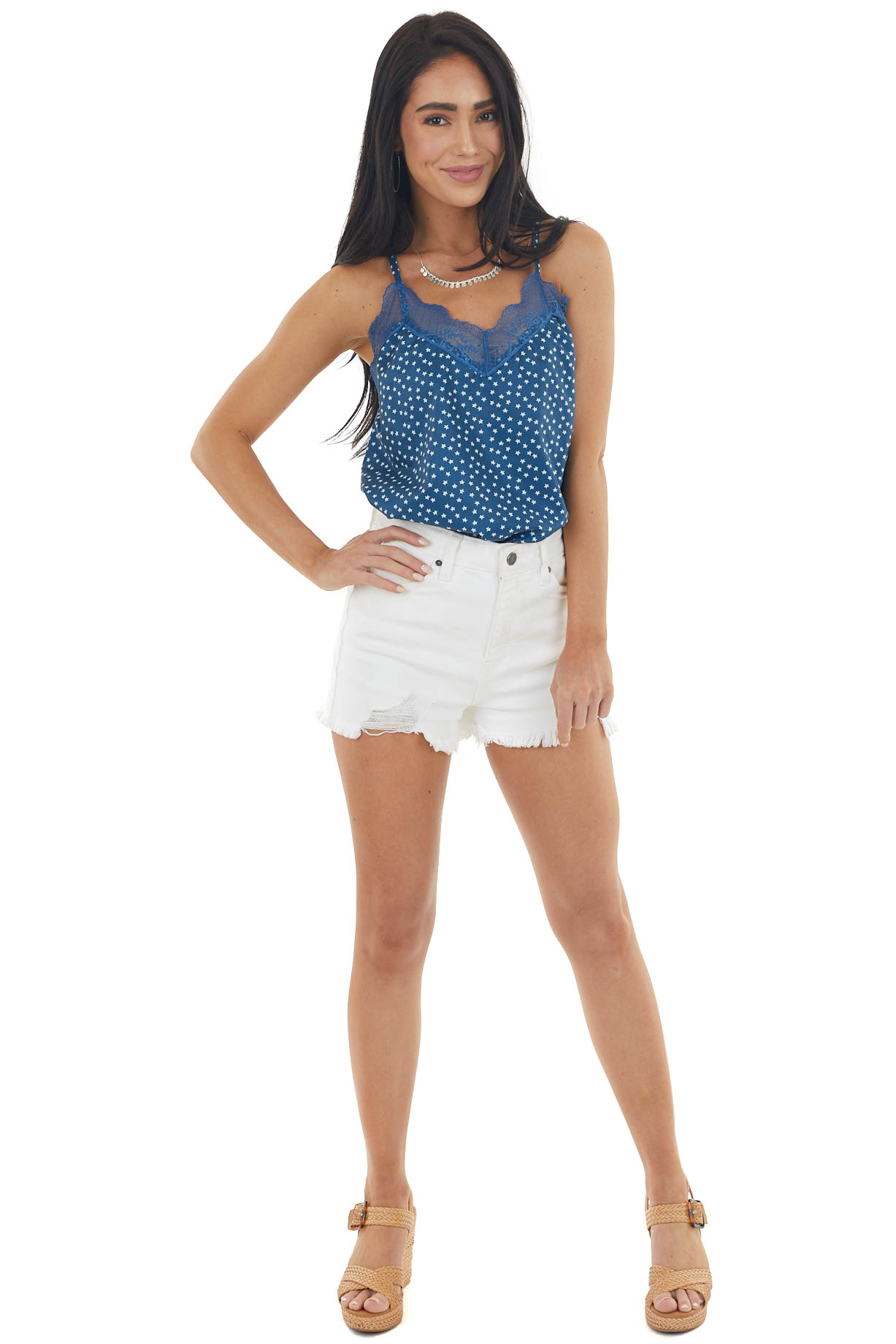 Rich Ocean Blue Star Print V Neck Tank Top with Lace Detail
