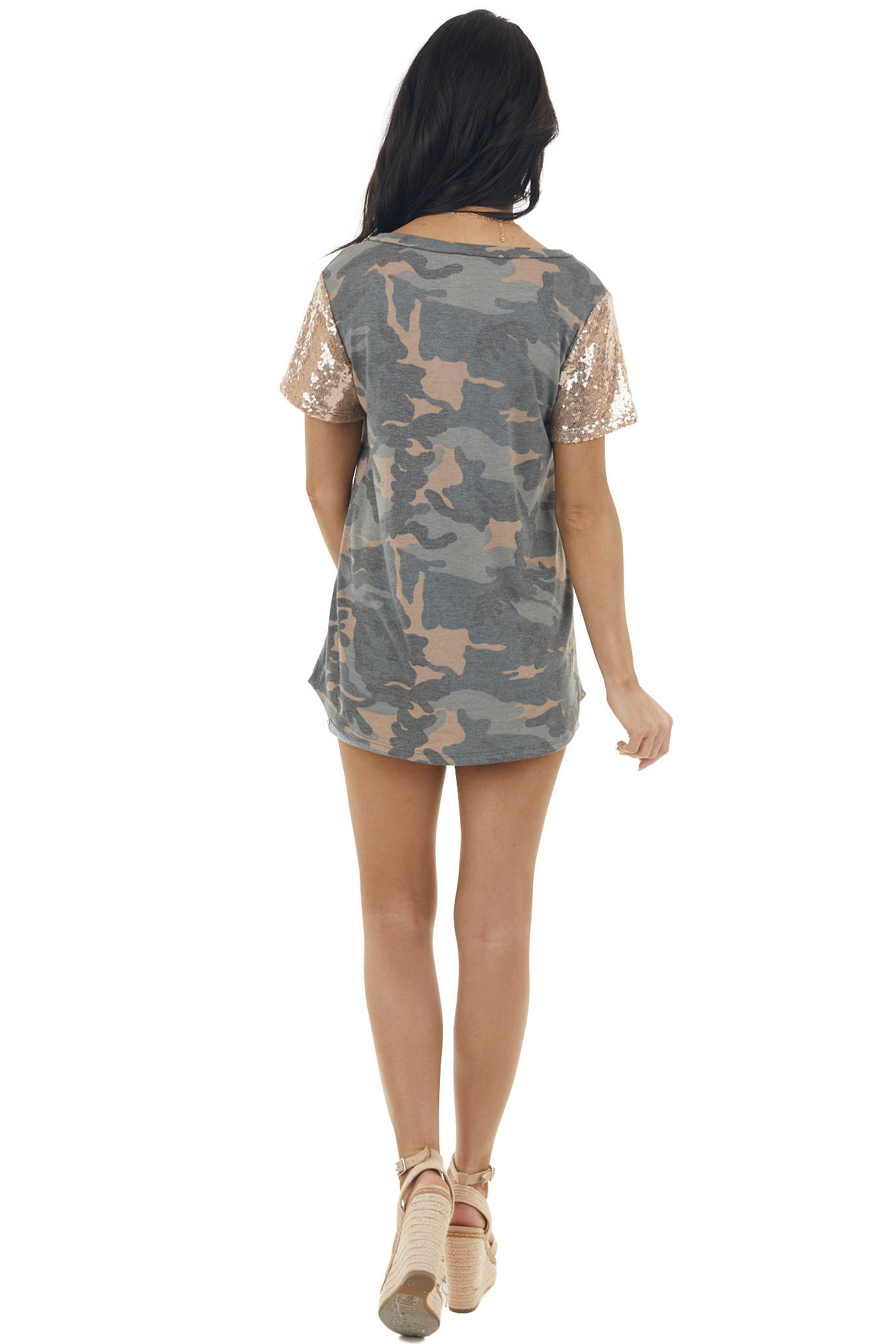 Forest Green Camo Print Tee with Rose Gold Sequin Sleeve