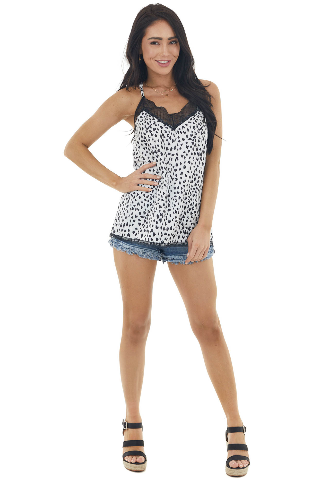 Pearl White Leopard Print V Neck Tank Top with Lace Detail