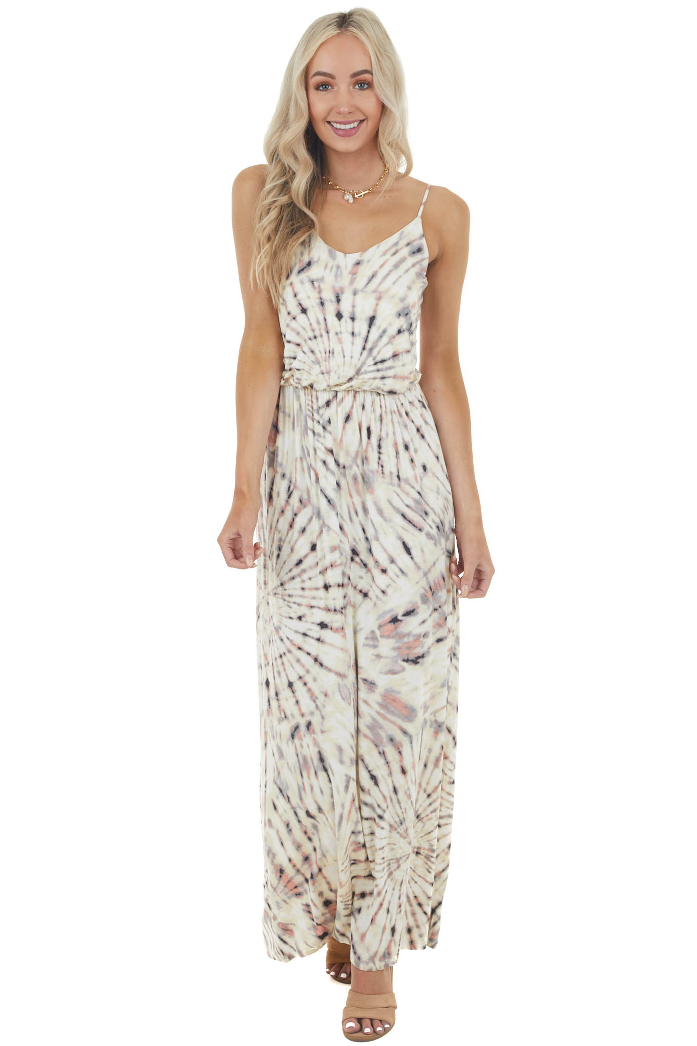 Light Banana Tie Dye Sleeveless Blouson Maxi Dress