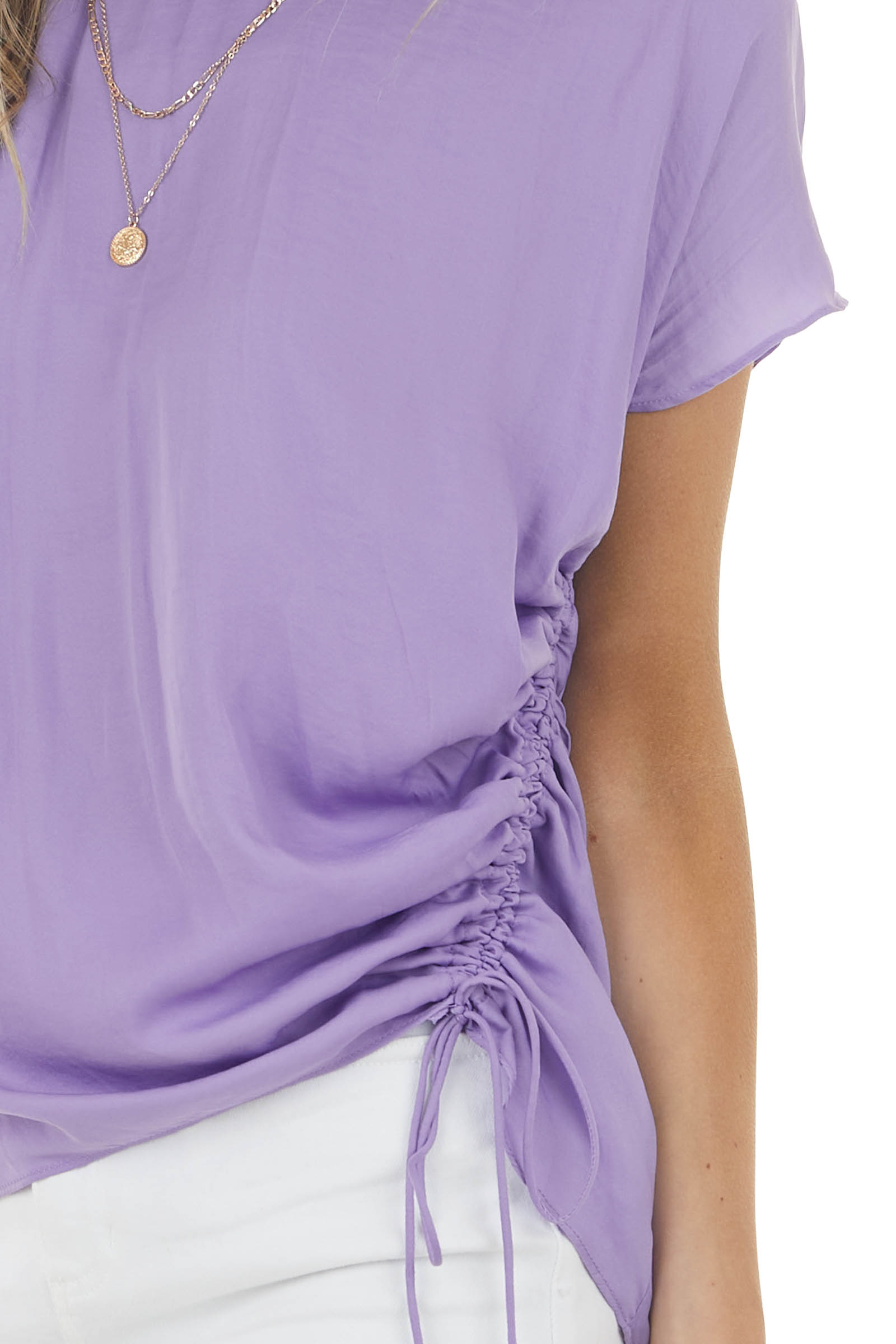 Light Violet Asymmetrical Sleeve Blouse with Ruching Detail