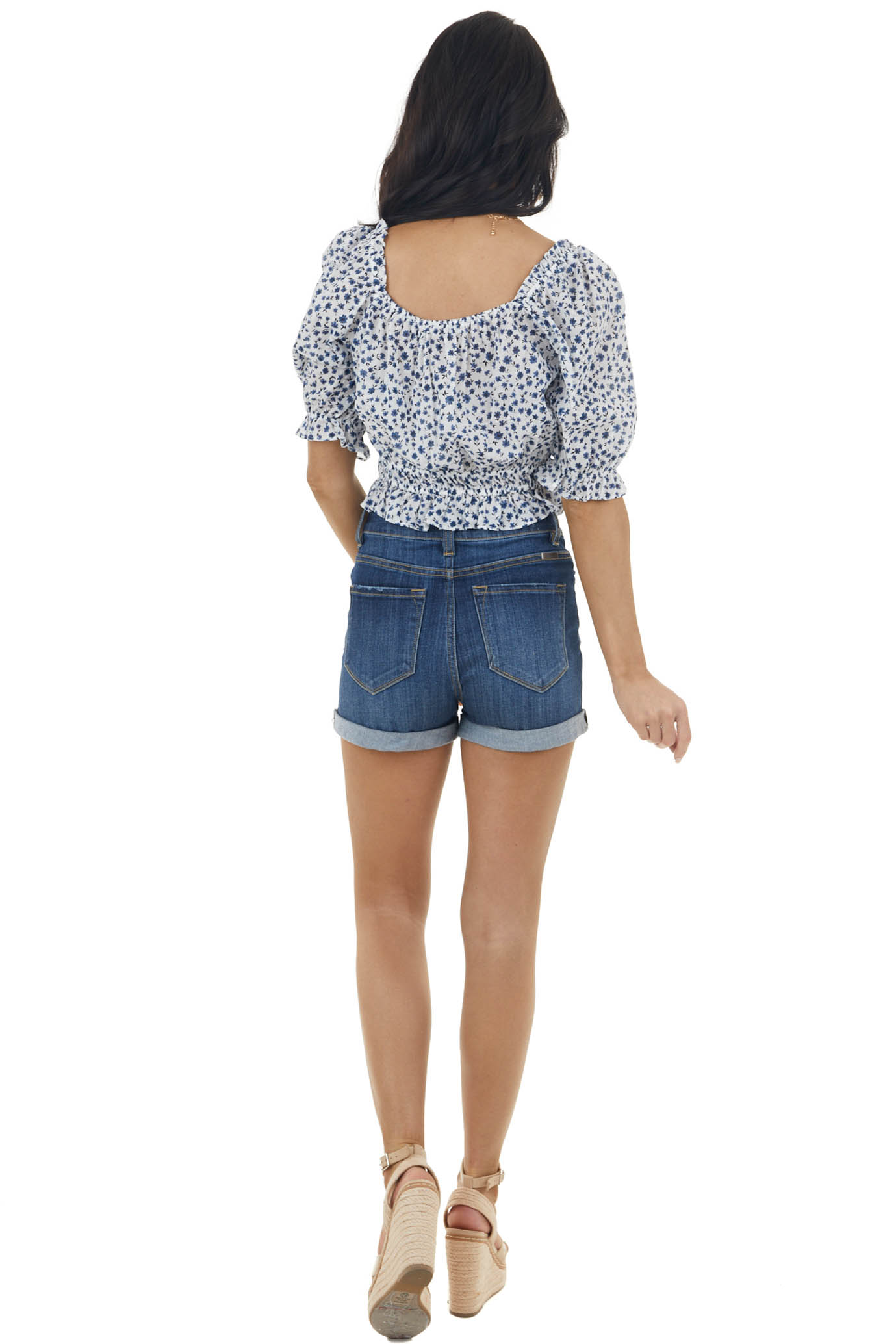 Ivory Ditsy Floral Print Crop Top with Half Puff Sleeves