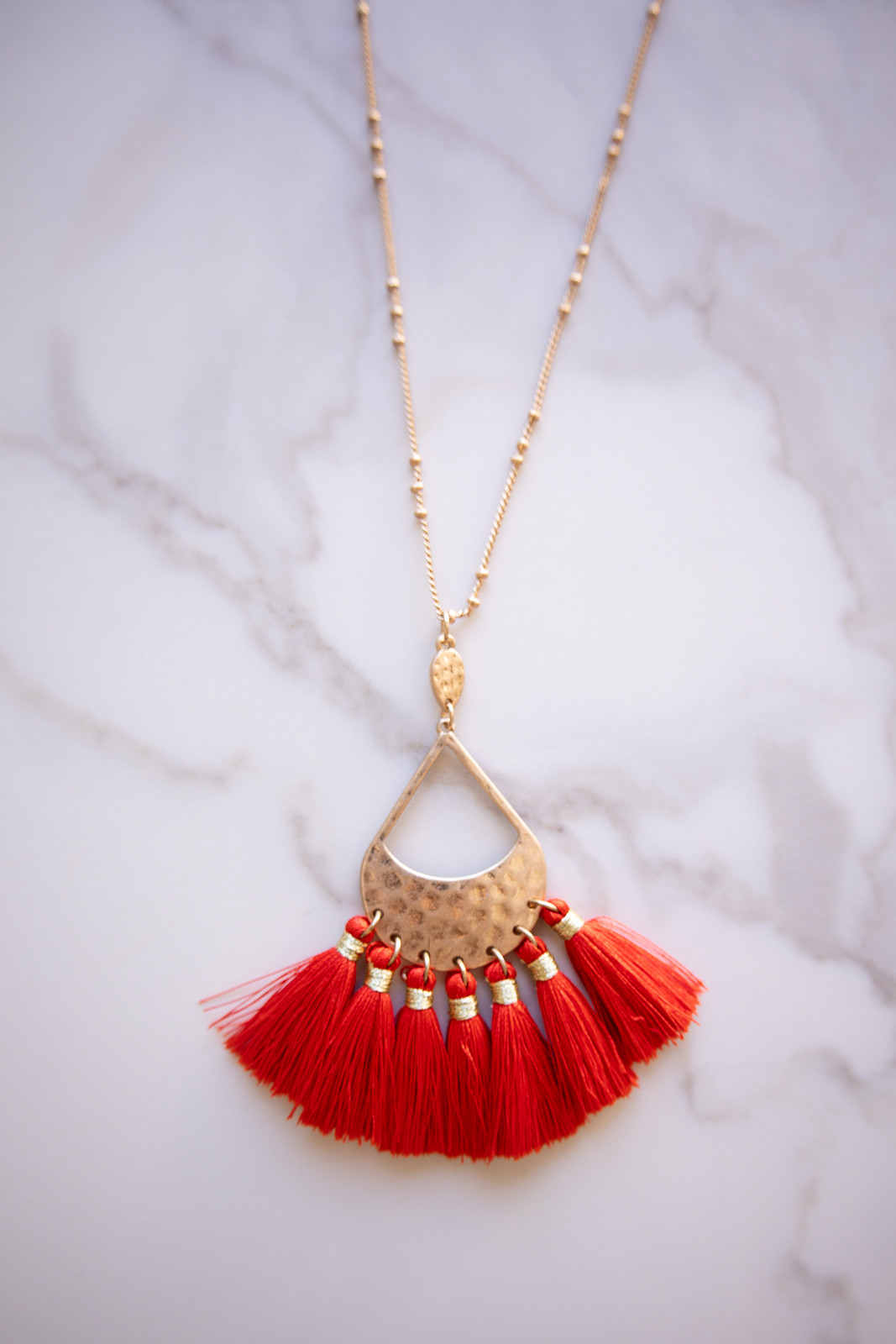 Gold Long Chain Necklace with Lipstick Red Tassel Pendant