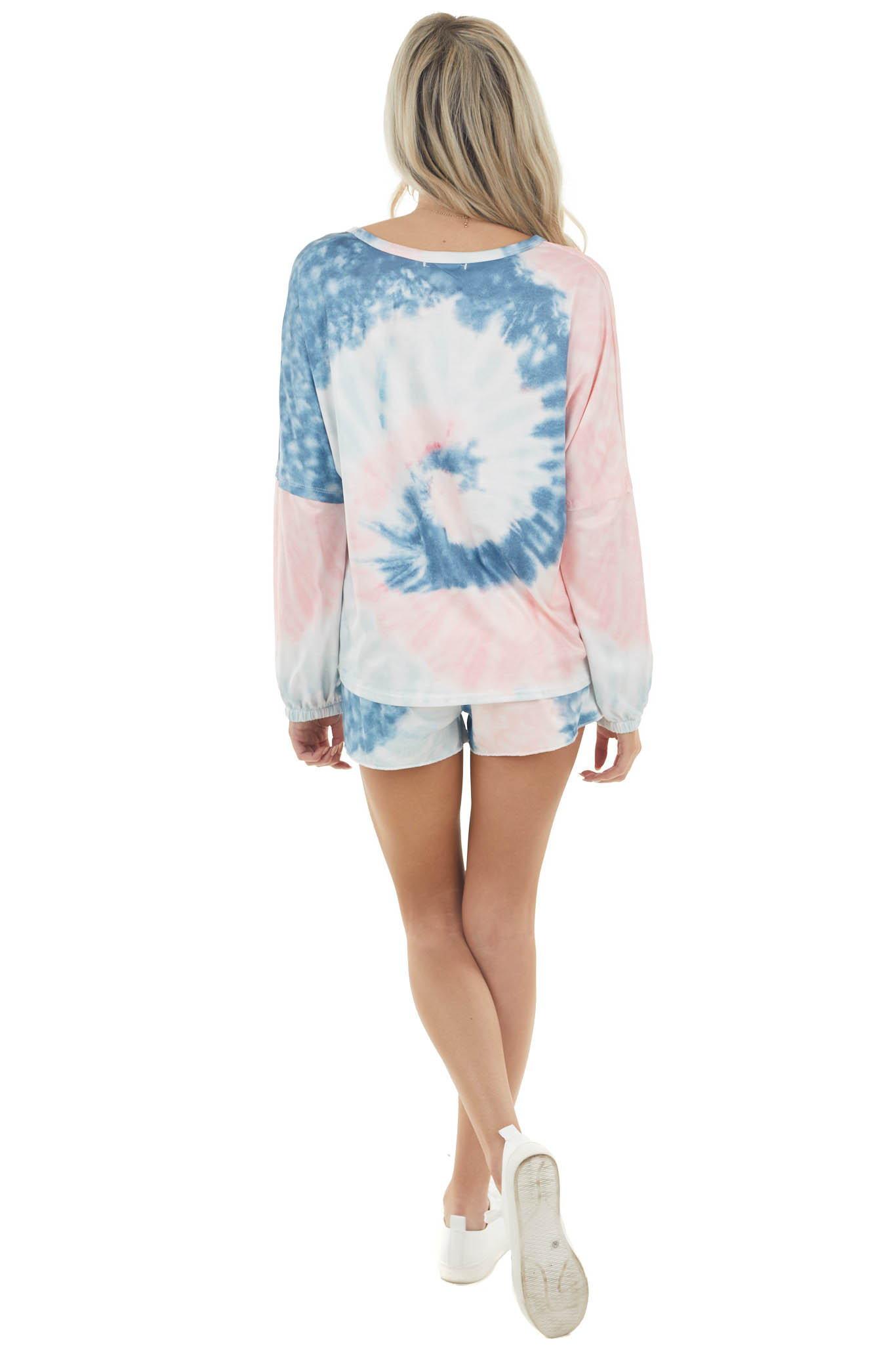 Ocean Blue and Carnation Tie Dye Top and Shorts Set