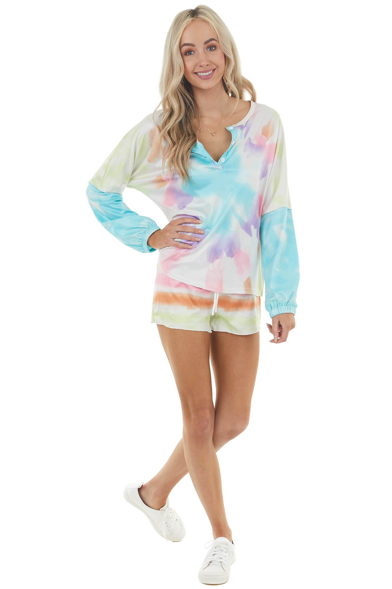 Turquoise and Carnation Tie Dye Top and Shorts Set