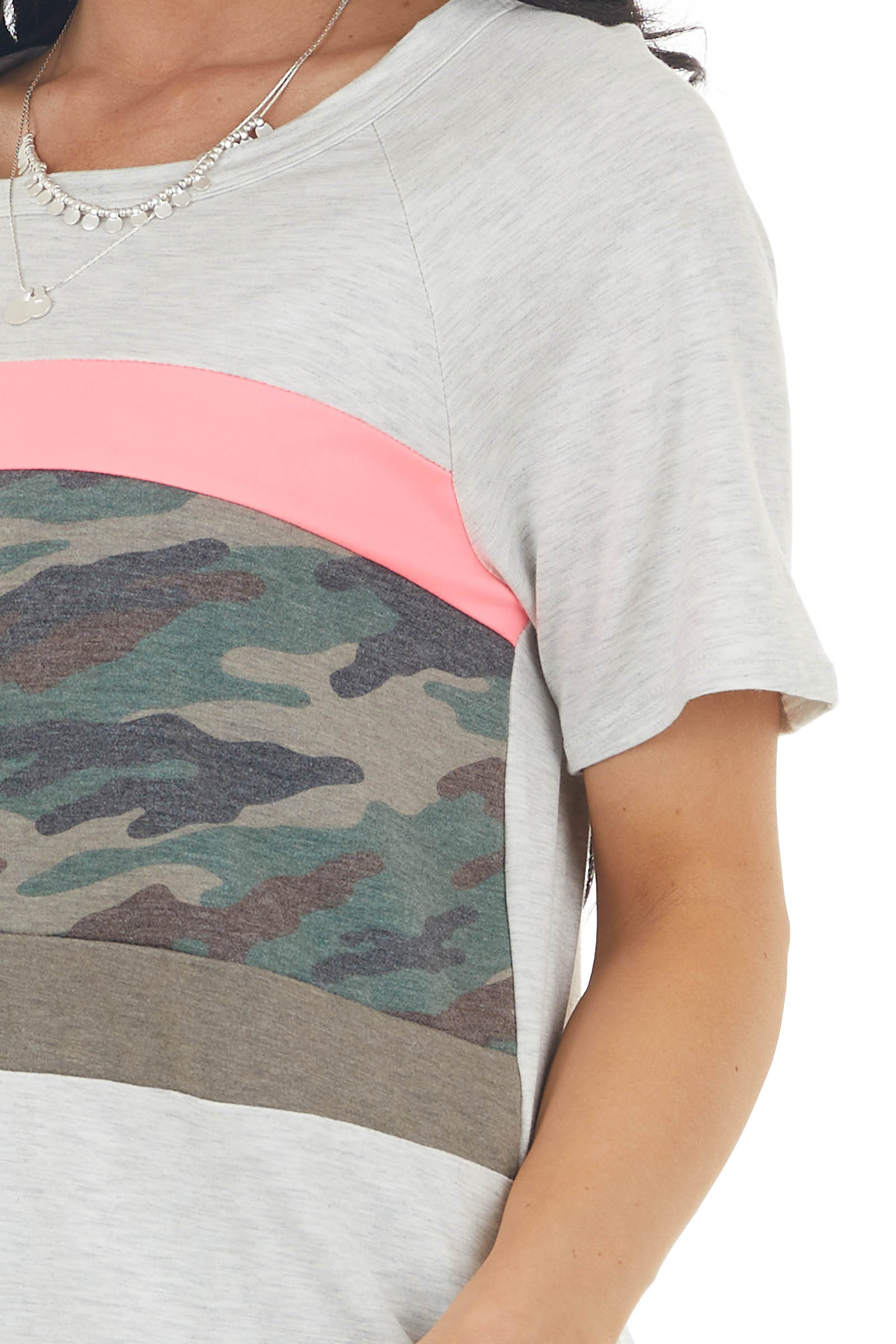 Oatmeal and Camo Colorblock Short Sleeve Knit Top