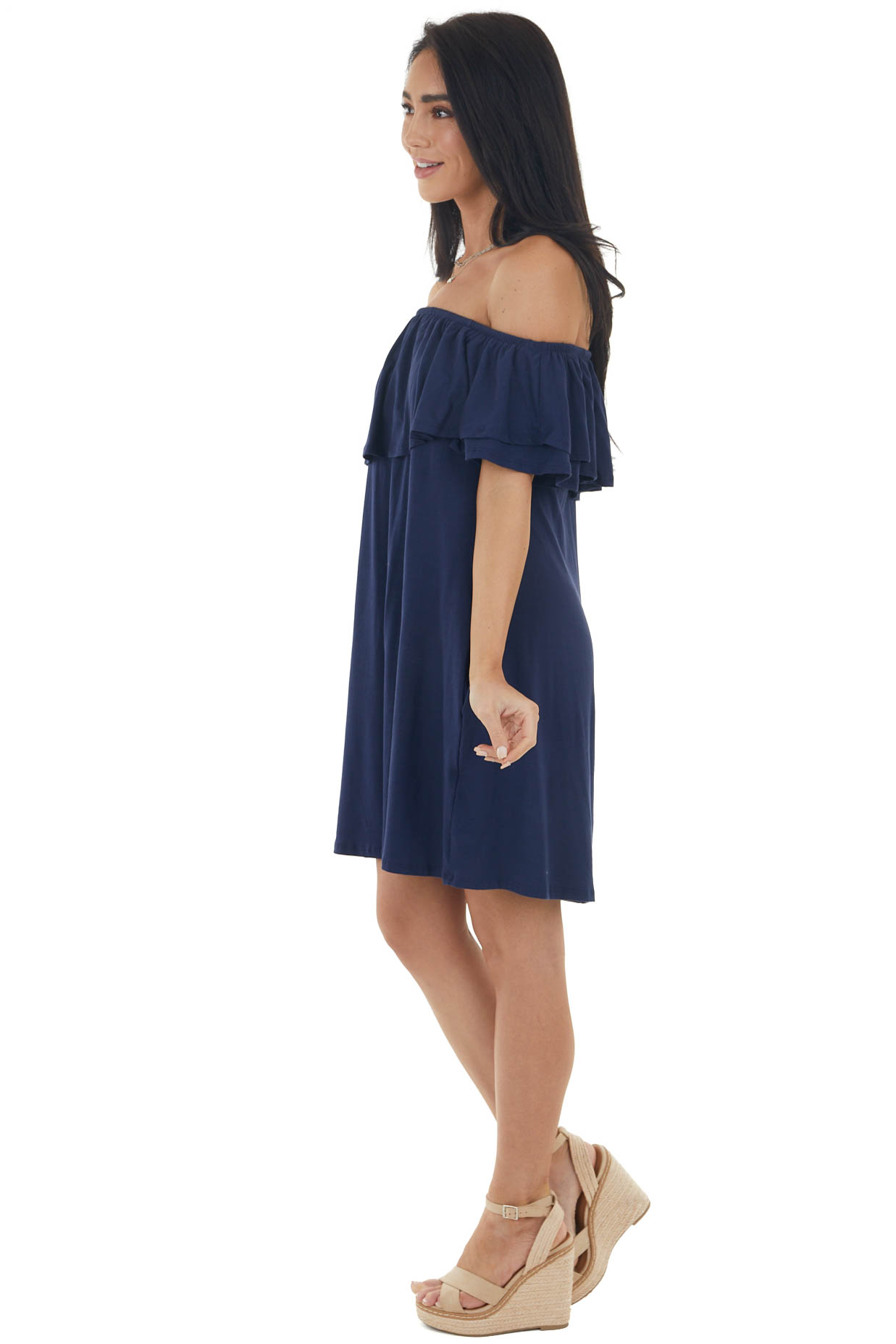 Navy Off the Shoulder Mini Dress with Ruffle Overlay