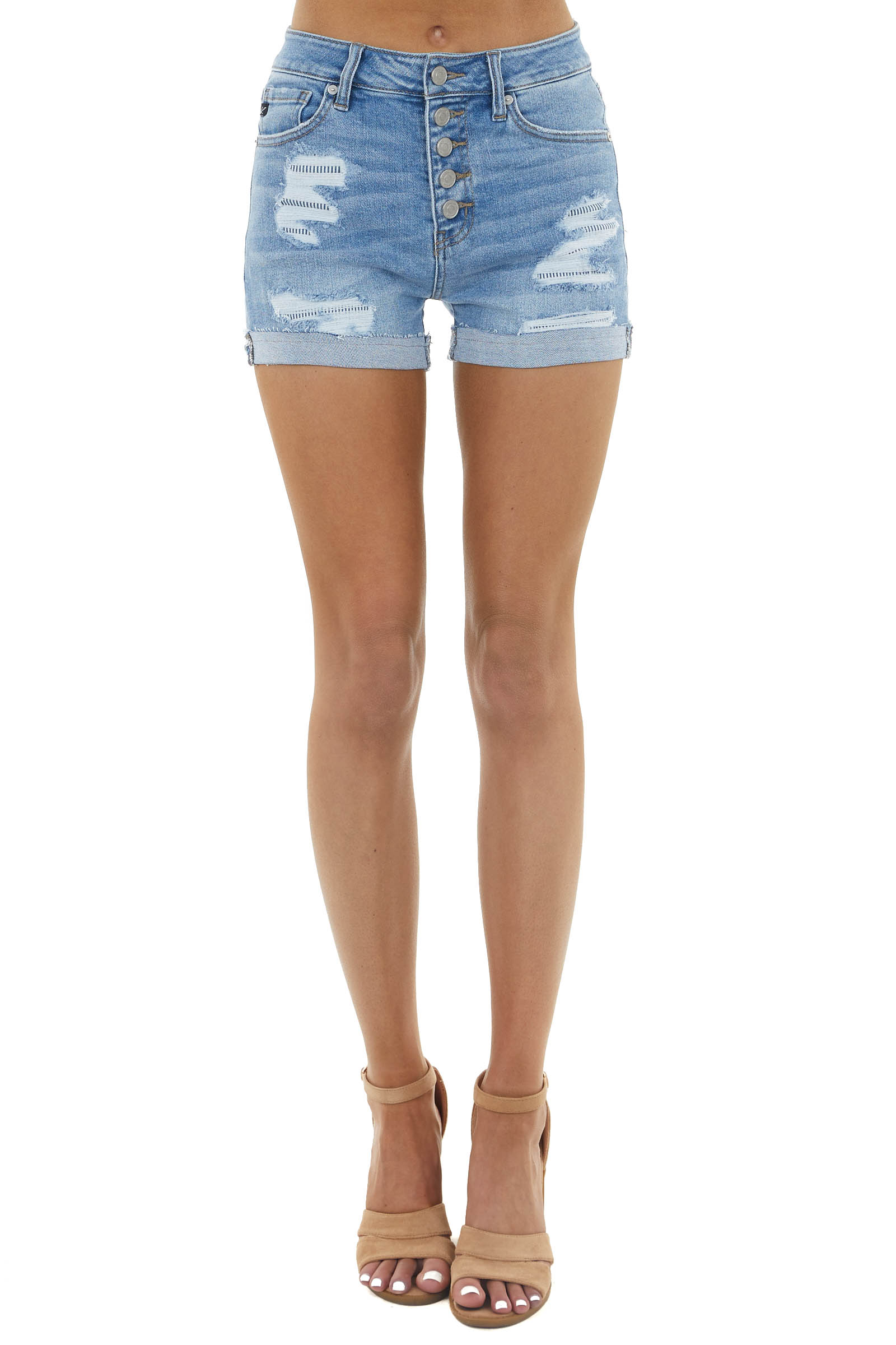 Medium Wash High Rise Shorts with Distress and Button Detail