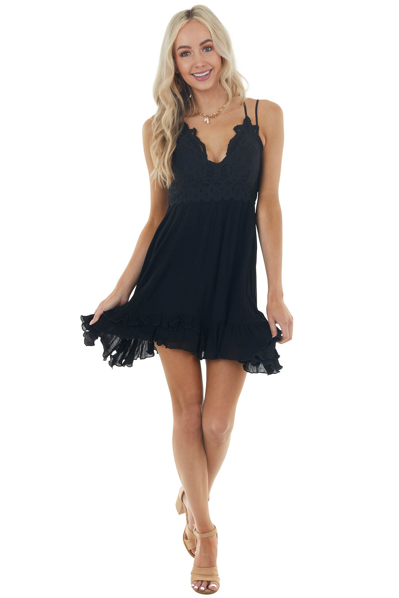 Black Sleeveless Dress with Crochet Lace Details