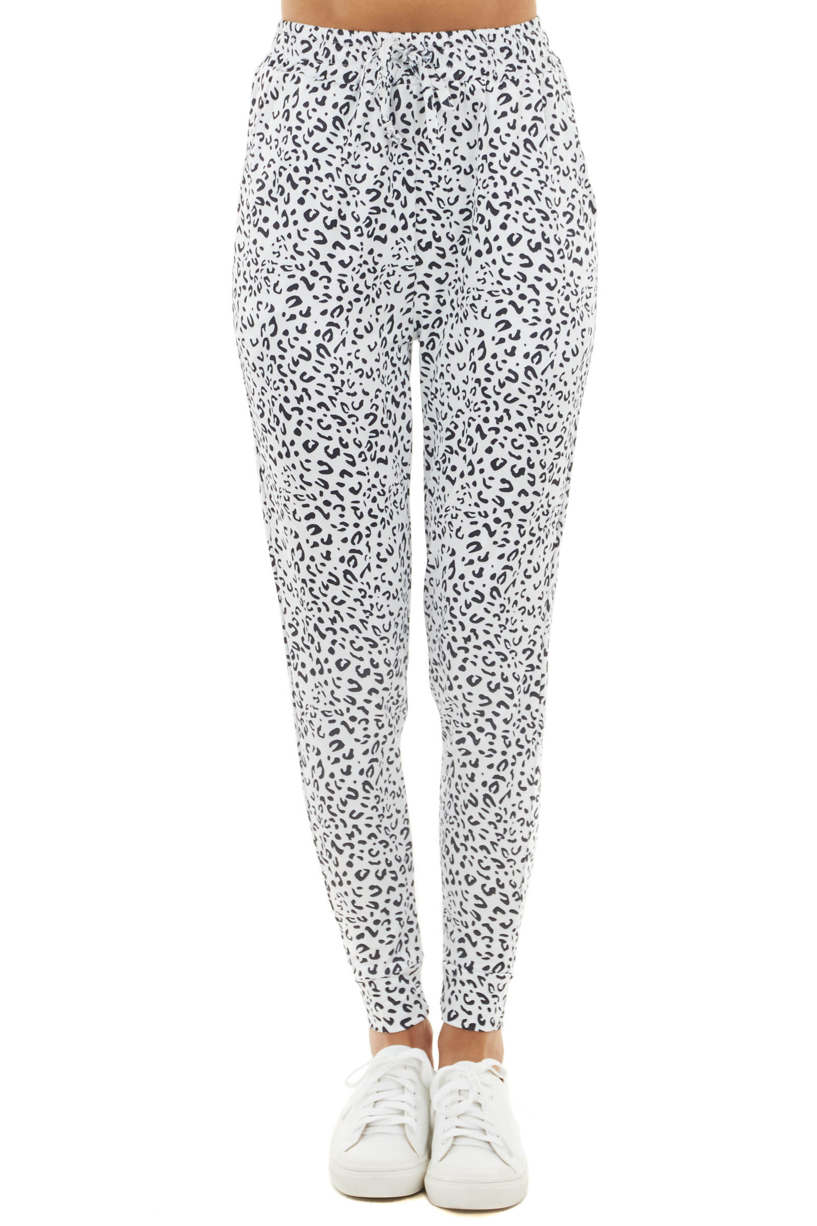Pearl White Leopard Print Joggers with Side Pockets