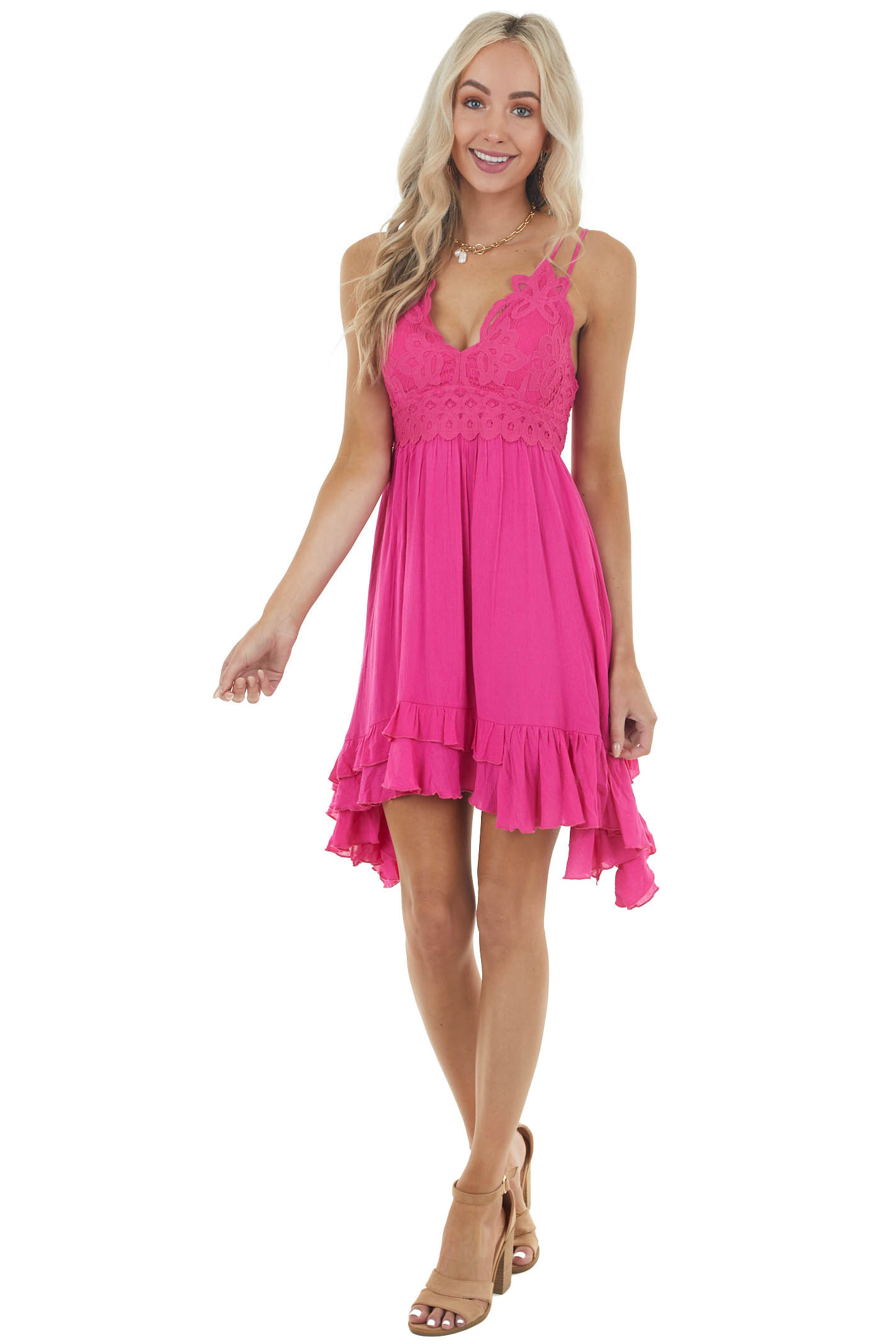 Fuchsia Sleeveless Dress with Crochet Lace Details