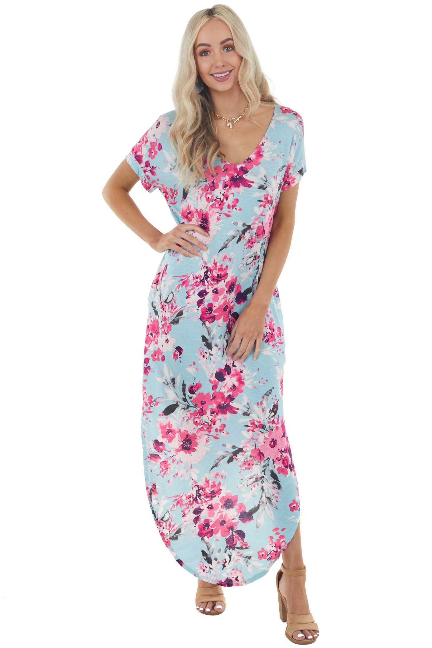 Baby Blue Floral Print Short Sleeve Maxi Dress with Pocket