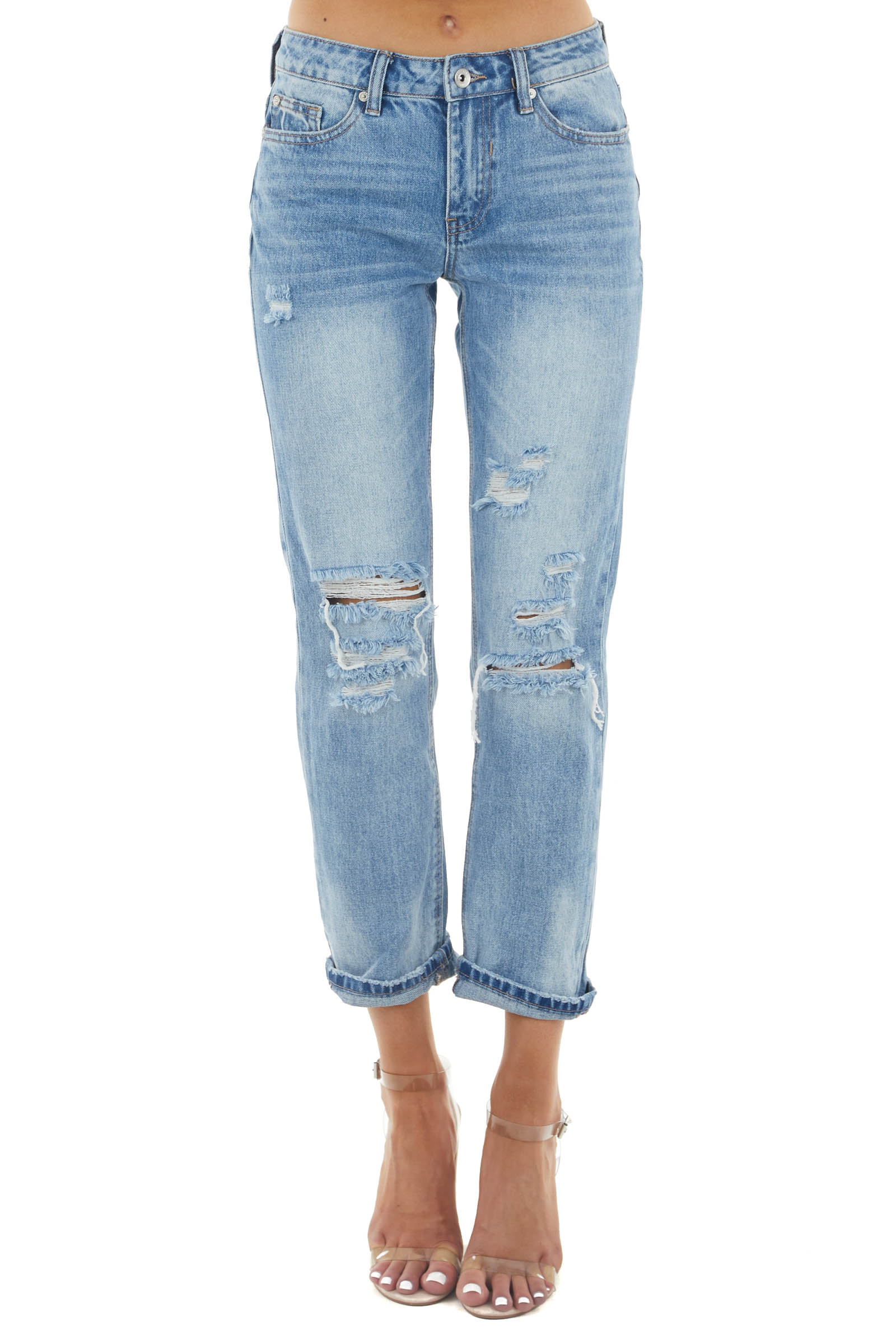 Light Wash Mid Rise Distressed Cuffed Jeans with Relaxed Fit