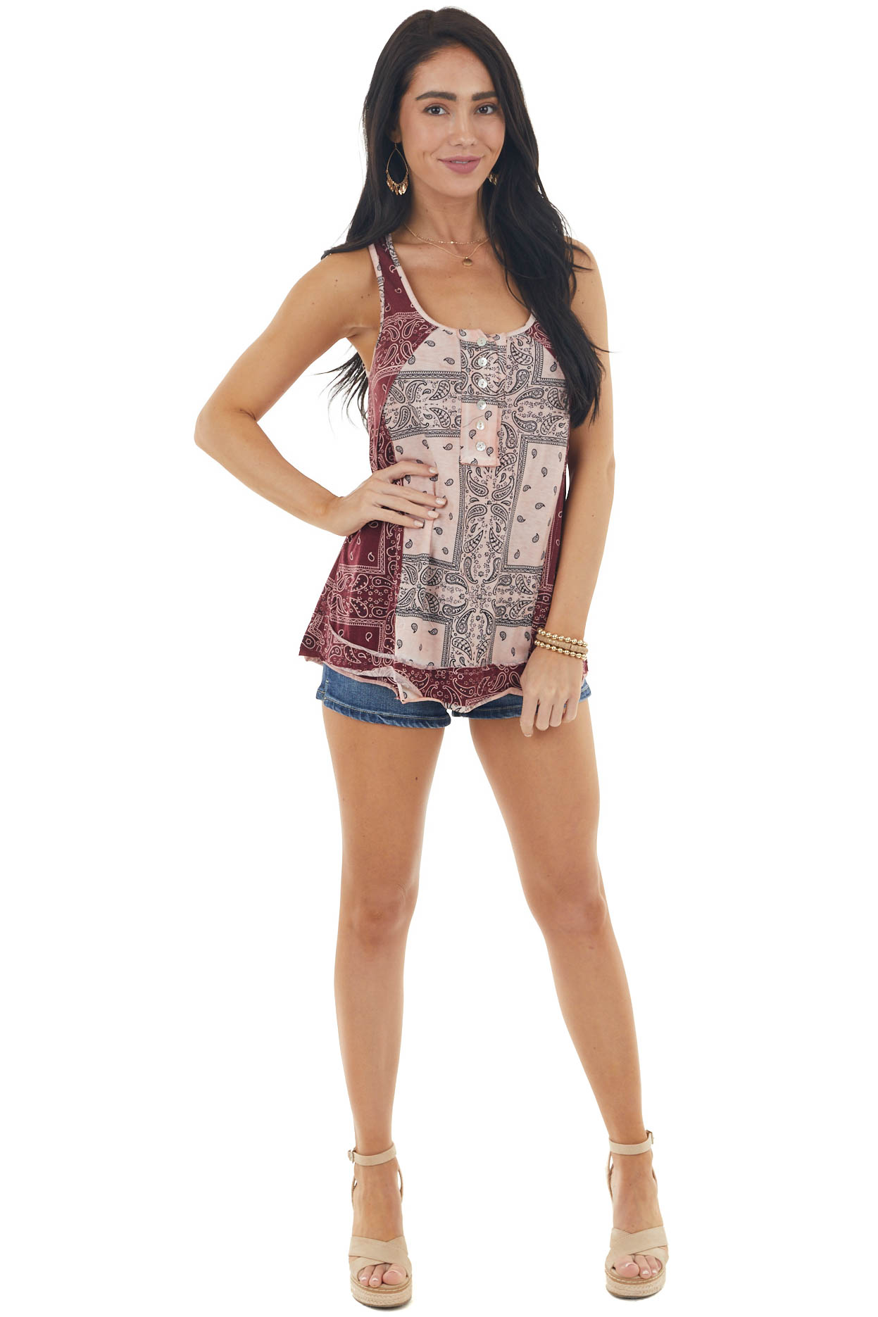 Light Coral and Wine Paisley Print Button Up Knit Tank Top