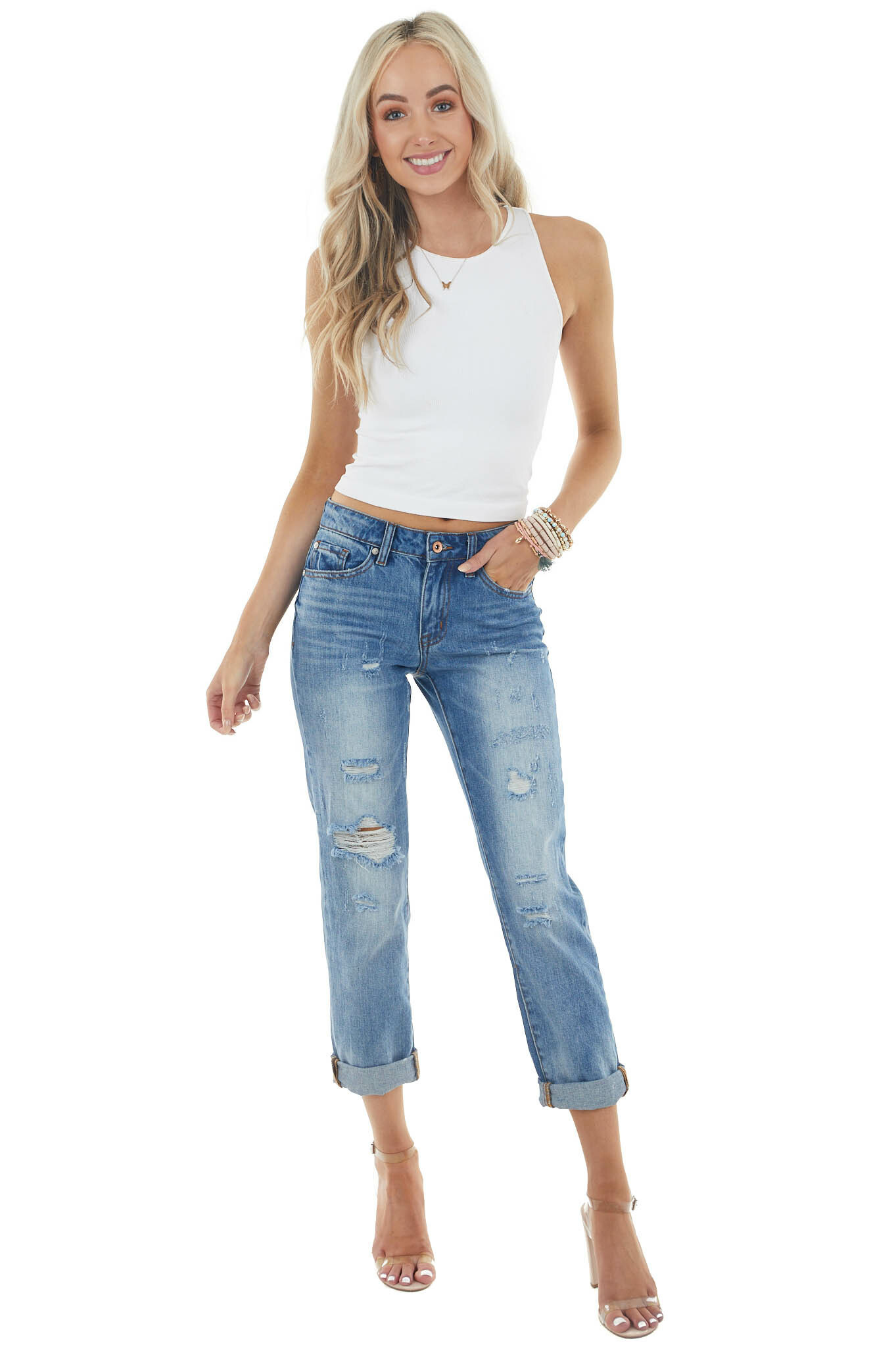 Medium Wash Mid Rise Distressed Jeans with Rolled Cuffs