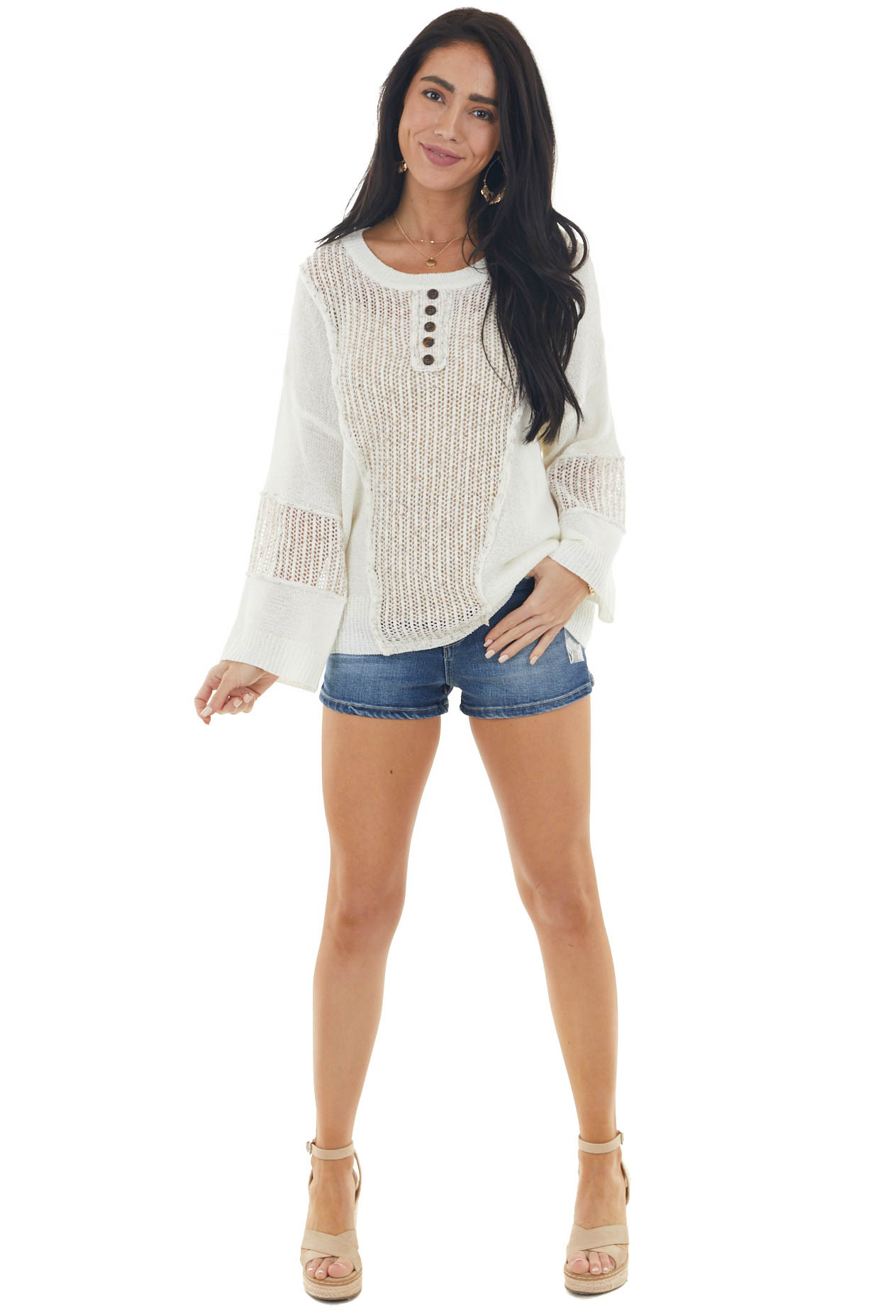 Cream Loose Knit Contrast Long Sleeve Top with Button Detail
