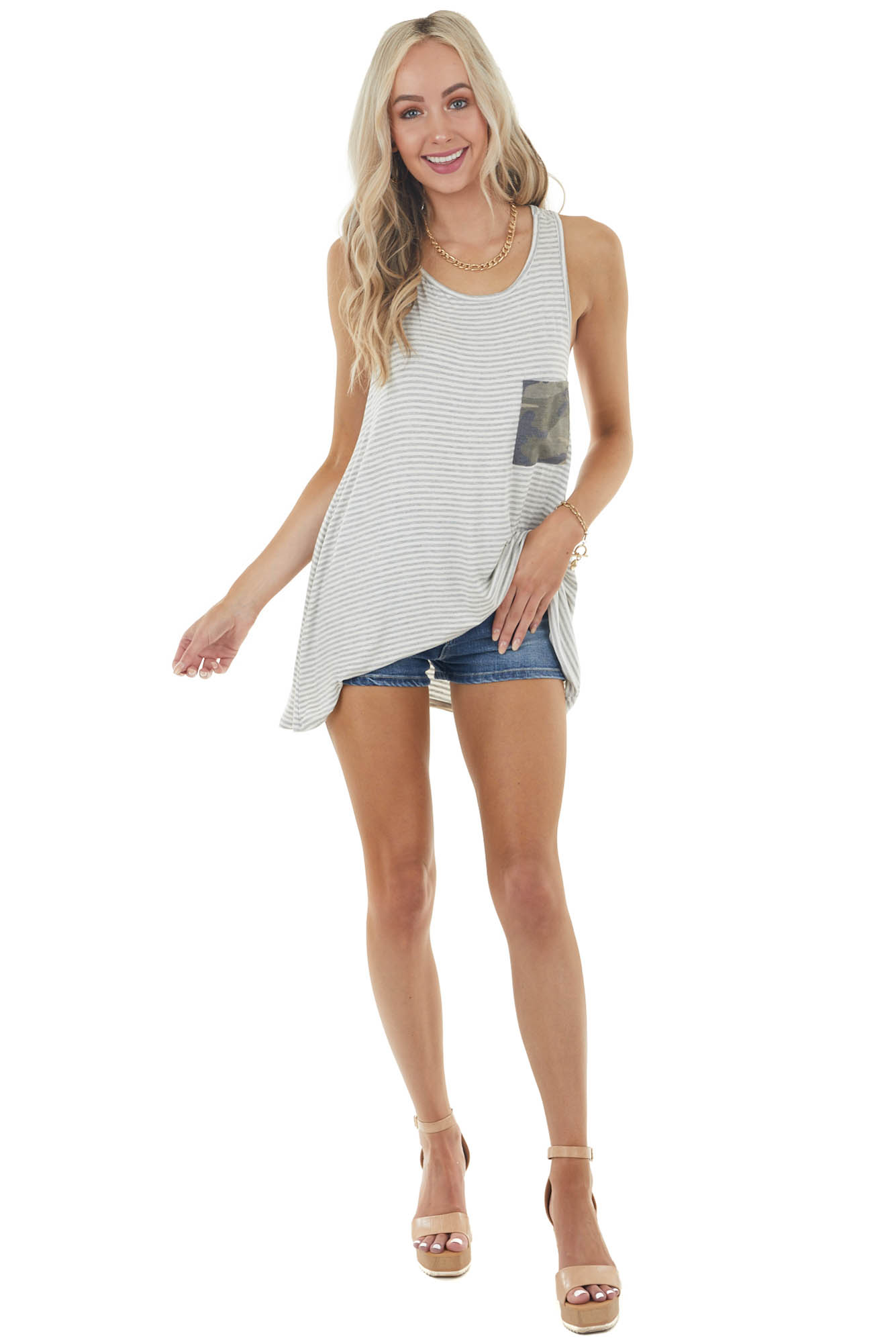 Pearl and Slate Striped Knit Tank Top with Bow Detail