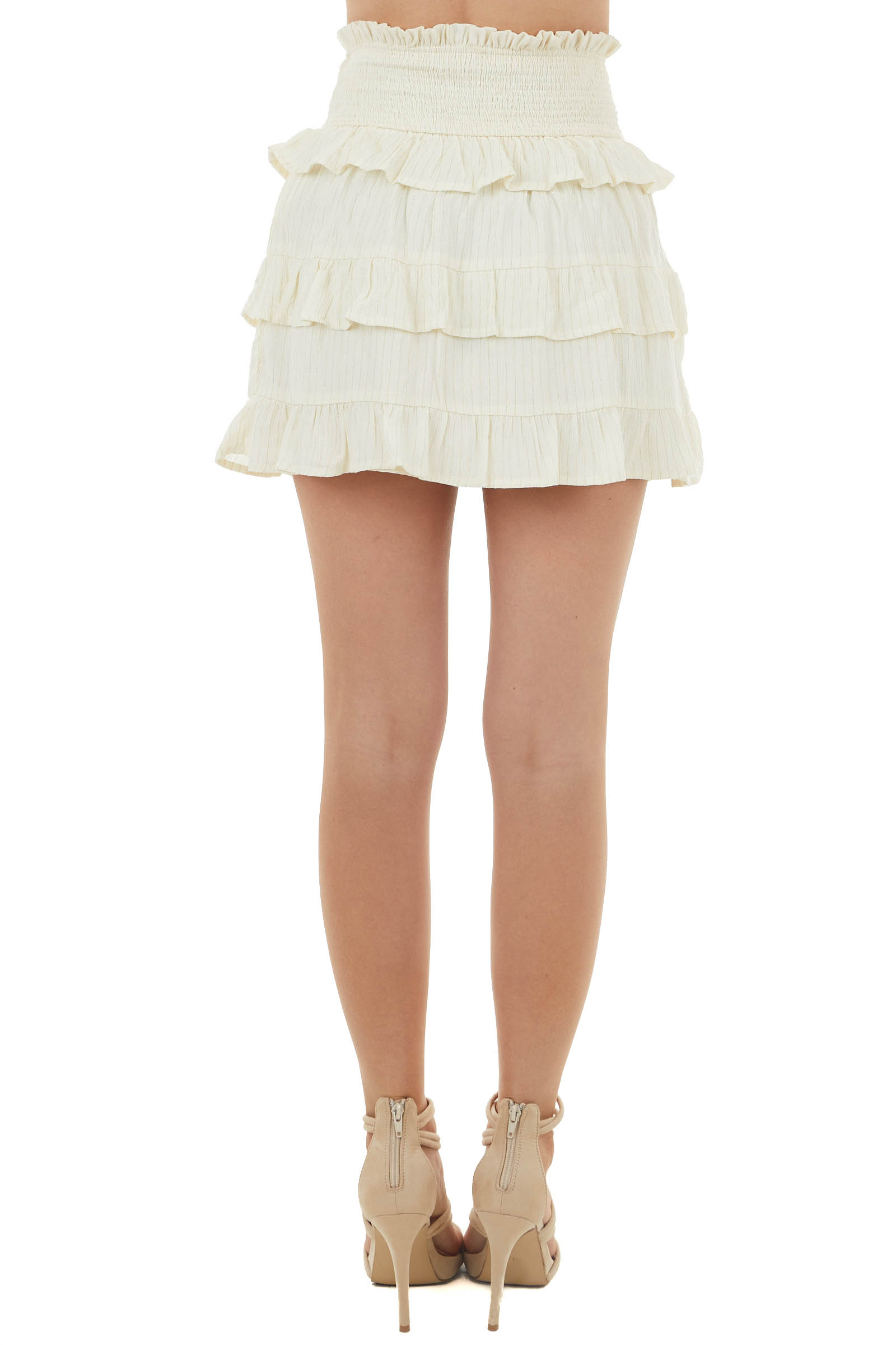 Cream Short Tiered Smocked Waist Skirt with Gold Thread