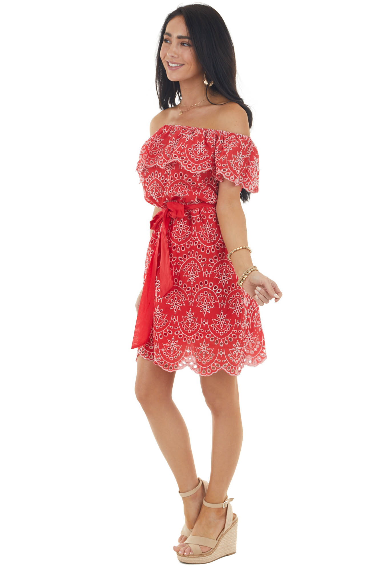 Ruby Red Off the Shoulder Eyelet Woven Dress with Tie Belt