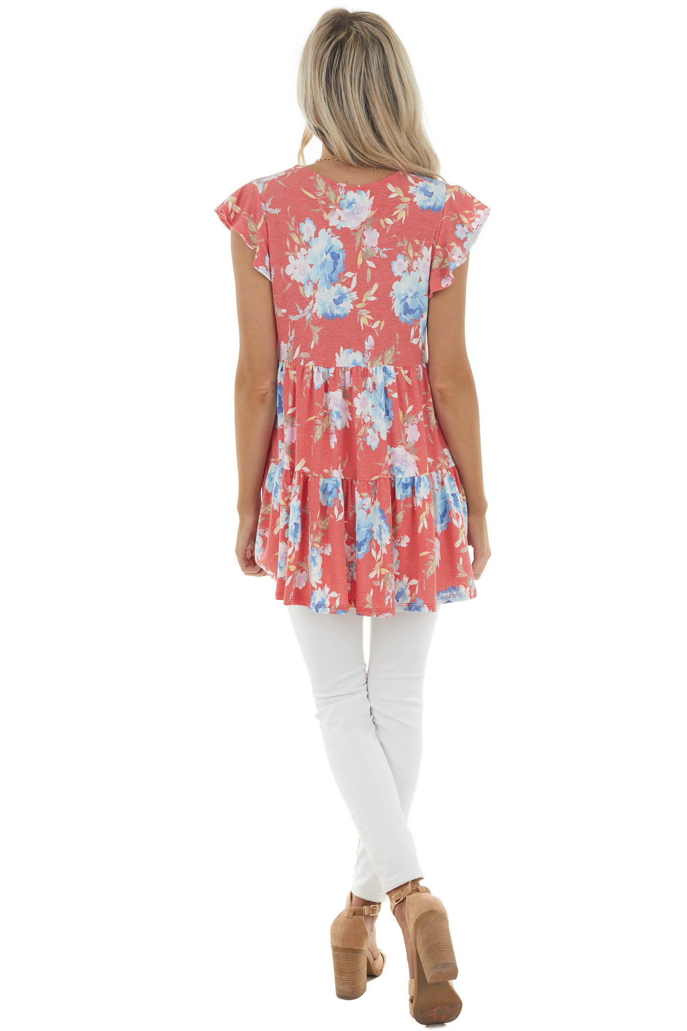 Coral Floral Print Babydoll Tunic Top with Flutter Sleeves