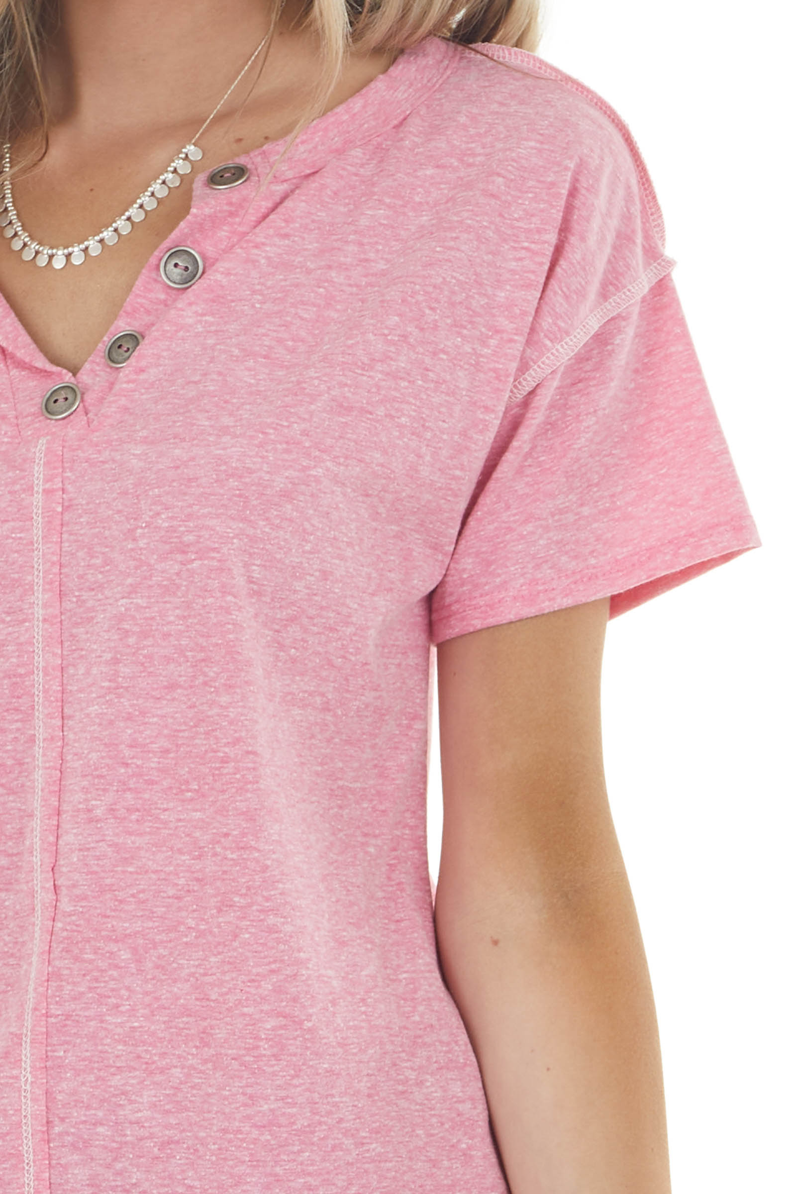 Deep Carnation Short Sleeve V Neck Top with Button Detail