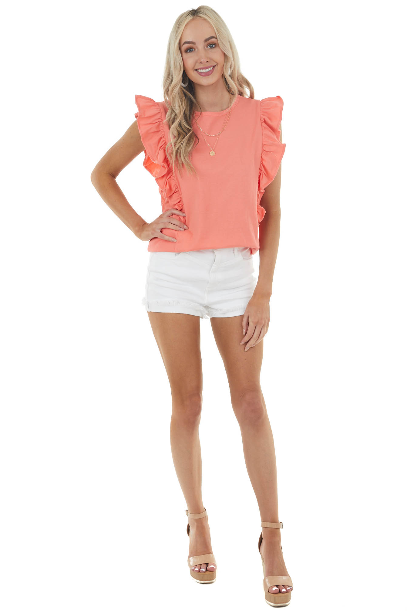 Coral Ruffled Cap Sleeve Knit Top with Rounded Neckline