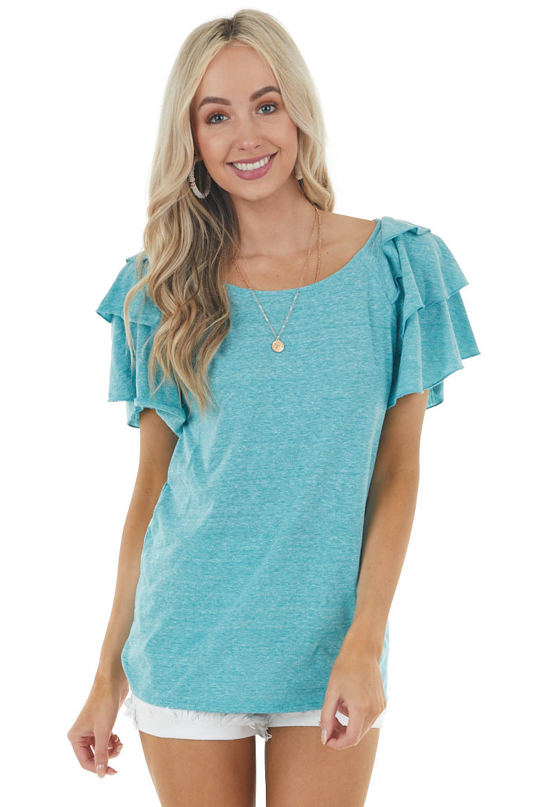 Heathered Teal Knit Top with Short Layered Ruffle Sleeves