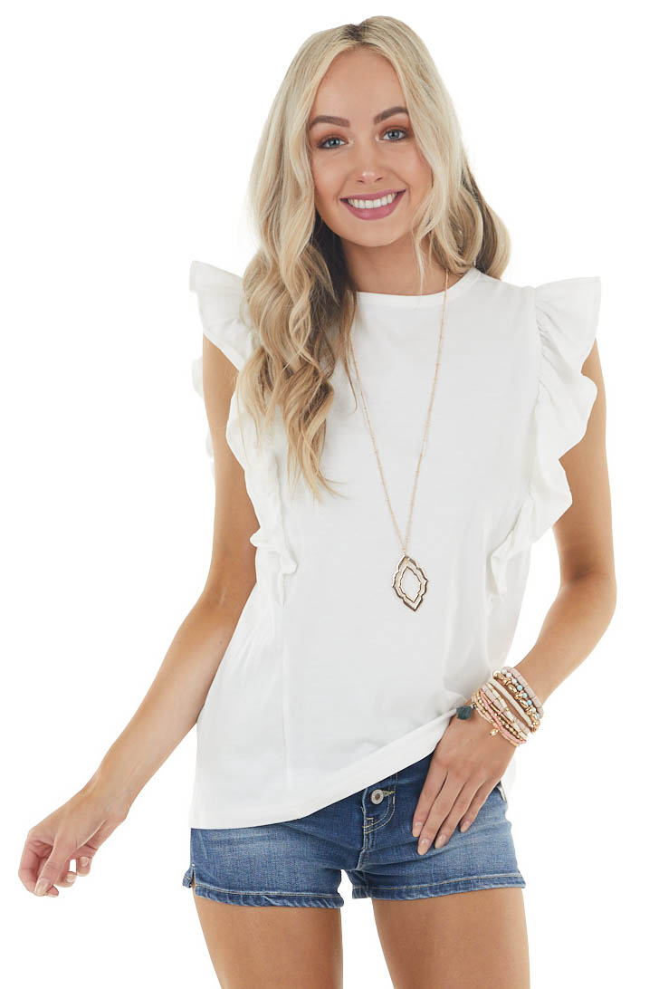 Pearl Ruffled Cap Sleeve Knit Top with Rounded Neckline